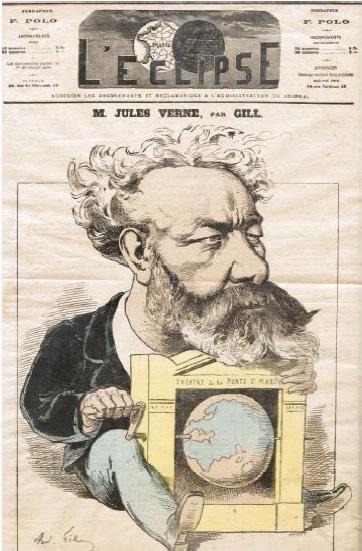 63€André Gill, portrait-charge de Jules Verne en couverture du n°320 de L'Éclipse, datédu 13décembre1874, encadré, 45x30cm.Drouot, 9octobre20