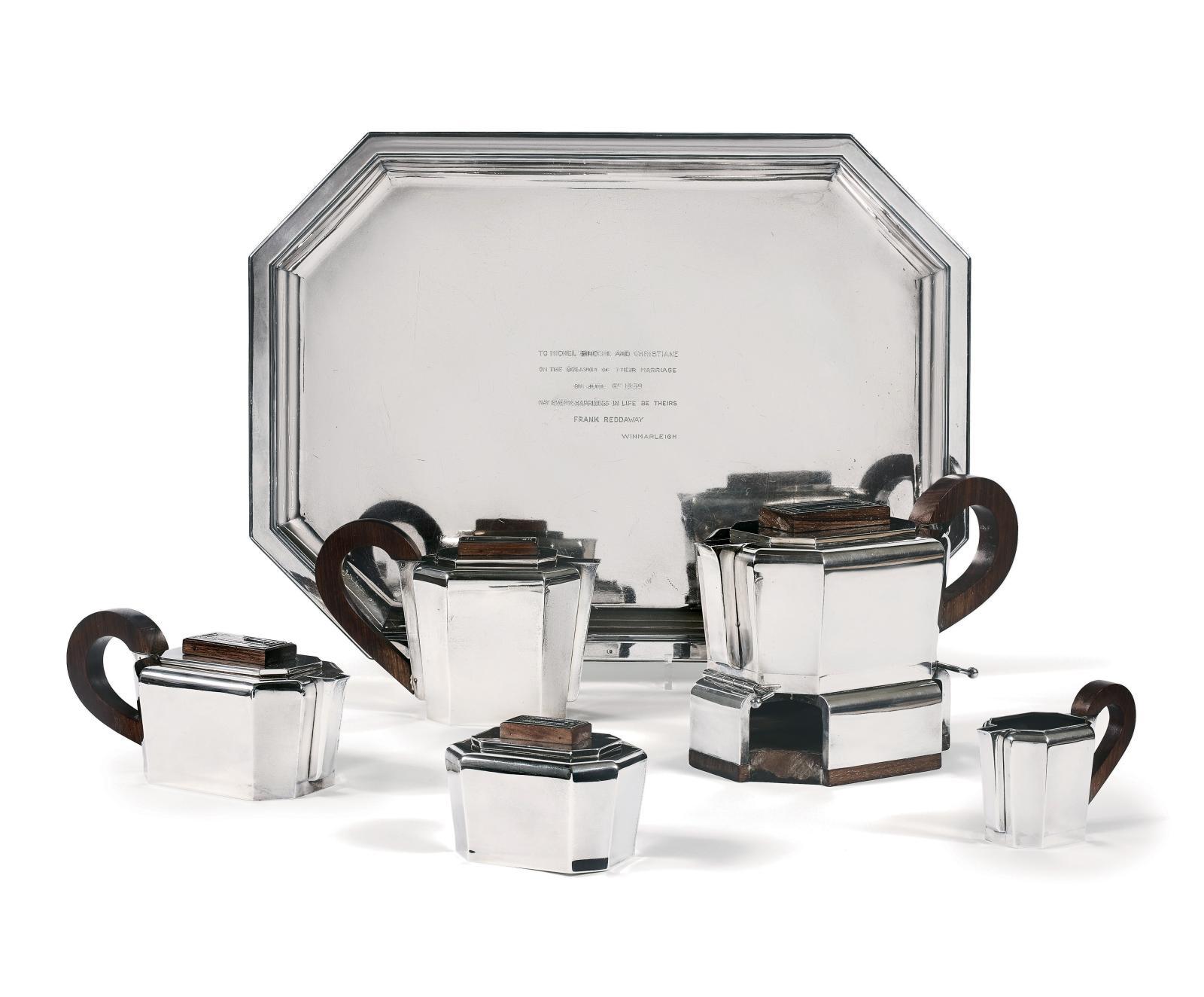 Jean Élysée Puiforcat (1897-1945), service à thé et café en argent et palissandre, modèle de 1937, chiffré «BB», composé d'une bouilloire électrique,