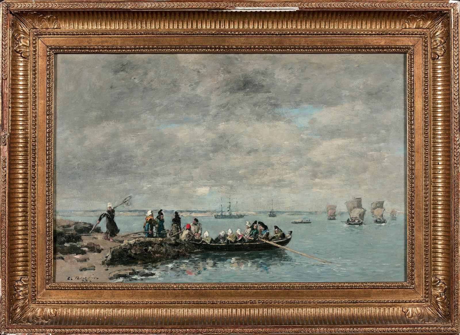 Eugène Boudin (1824-1898), Kerhor, pêcheuses, 1873, huile sur toile, 30,8x46,6cm. Estimation: 50000/70000€