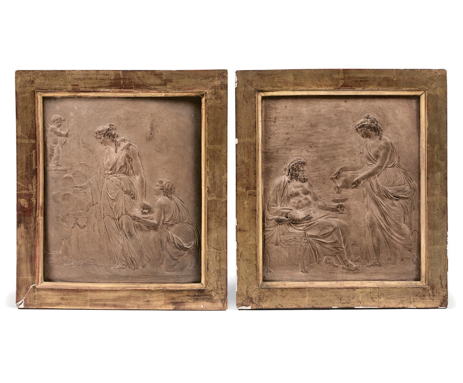 Jean-François Lorta (1752-1837), Offrande à l'Amour et Offrande à Bacchus, paire de bas-reliefs en terre cuite, 1792, 28x24cm. Estimation: 2000/3