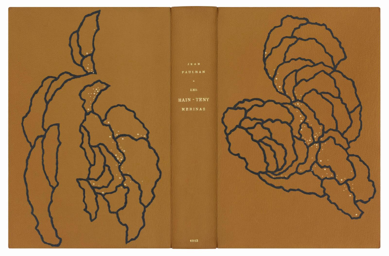 Morina Mongin, reliure pour Les Hain-Teny Merinas de Jean Paulhan.Librairie Vignes.