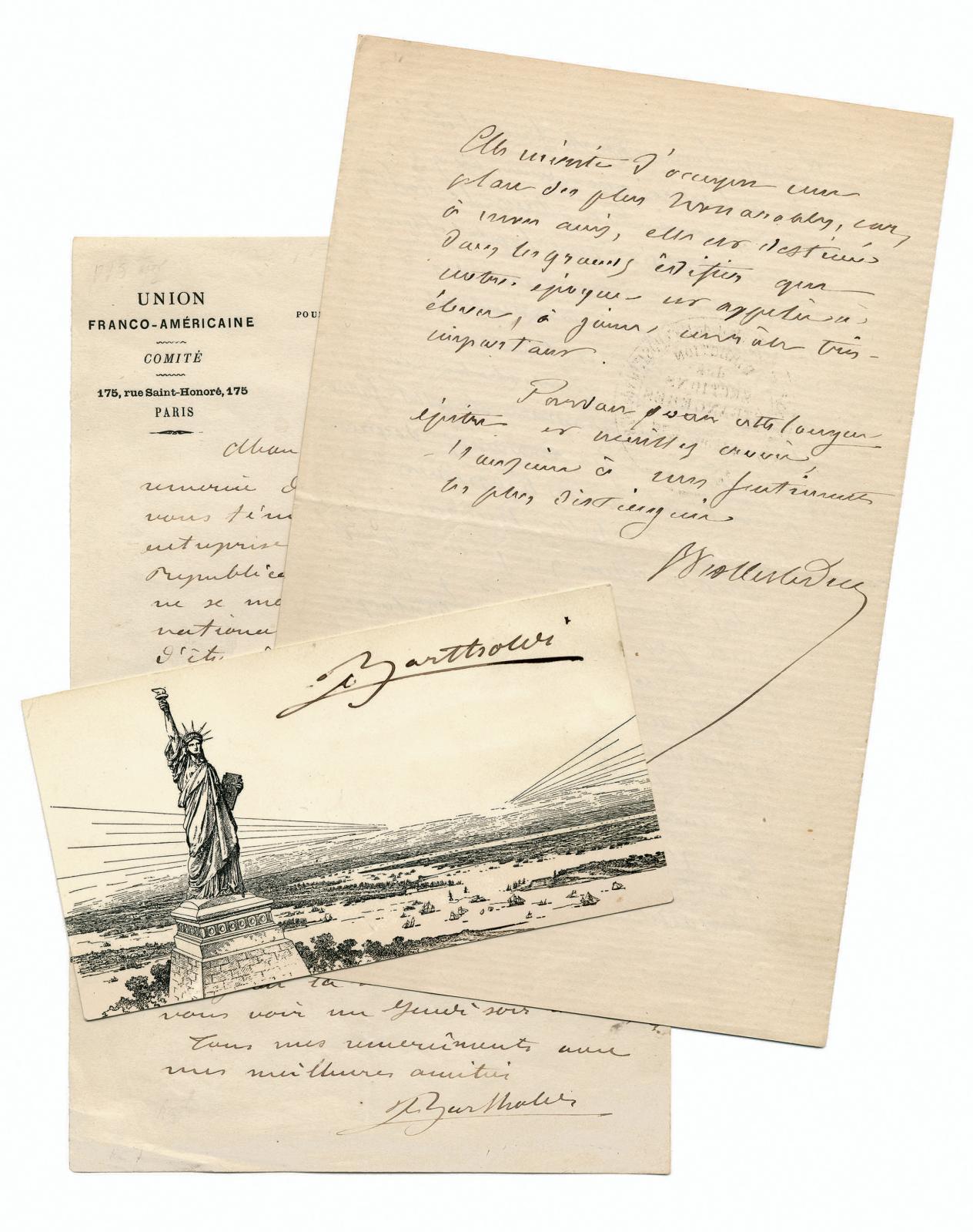 Statue de la Liberté. Trois lettres de Bartholdi et Viollet-le-Duc. Librairie Les Neuf Muses.