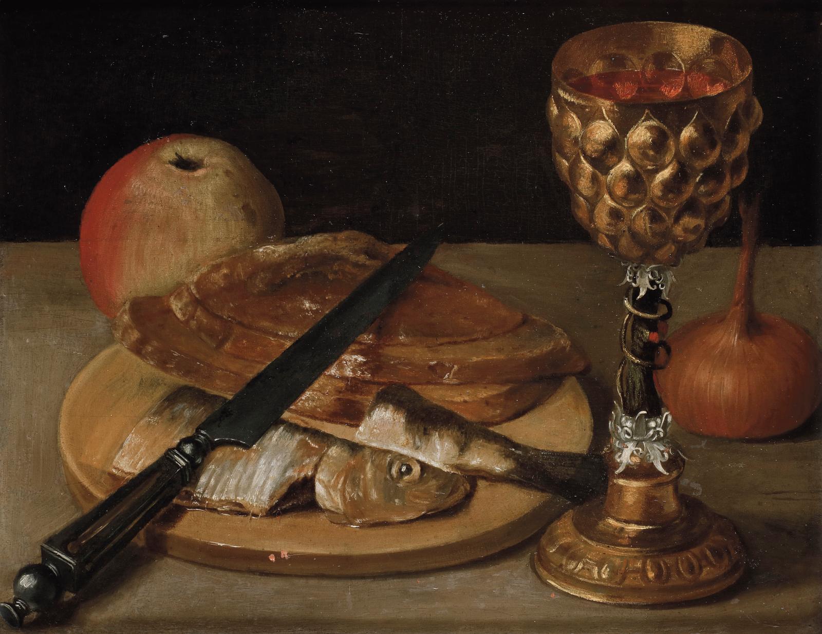 Georg Flegel (1566-1638), Nature morte au hareng et pokal, huile sur panneau, 21,6x27,5cm. Estimation: 30000/40000€