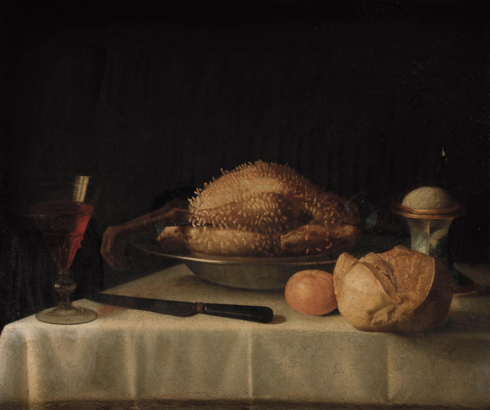Sébastien Stoskopff (1597-1657), Nature morte à la volaille lardée, salière, miche de pain et verre de vin, huile sur toile, 52,5x63cm. Estimation
