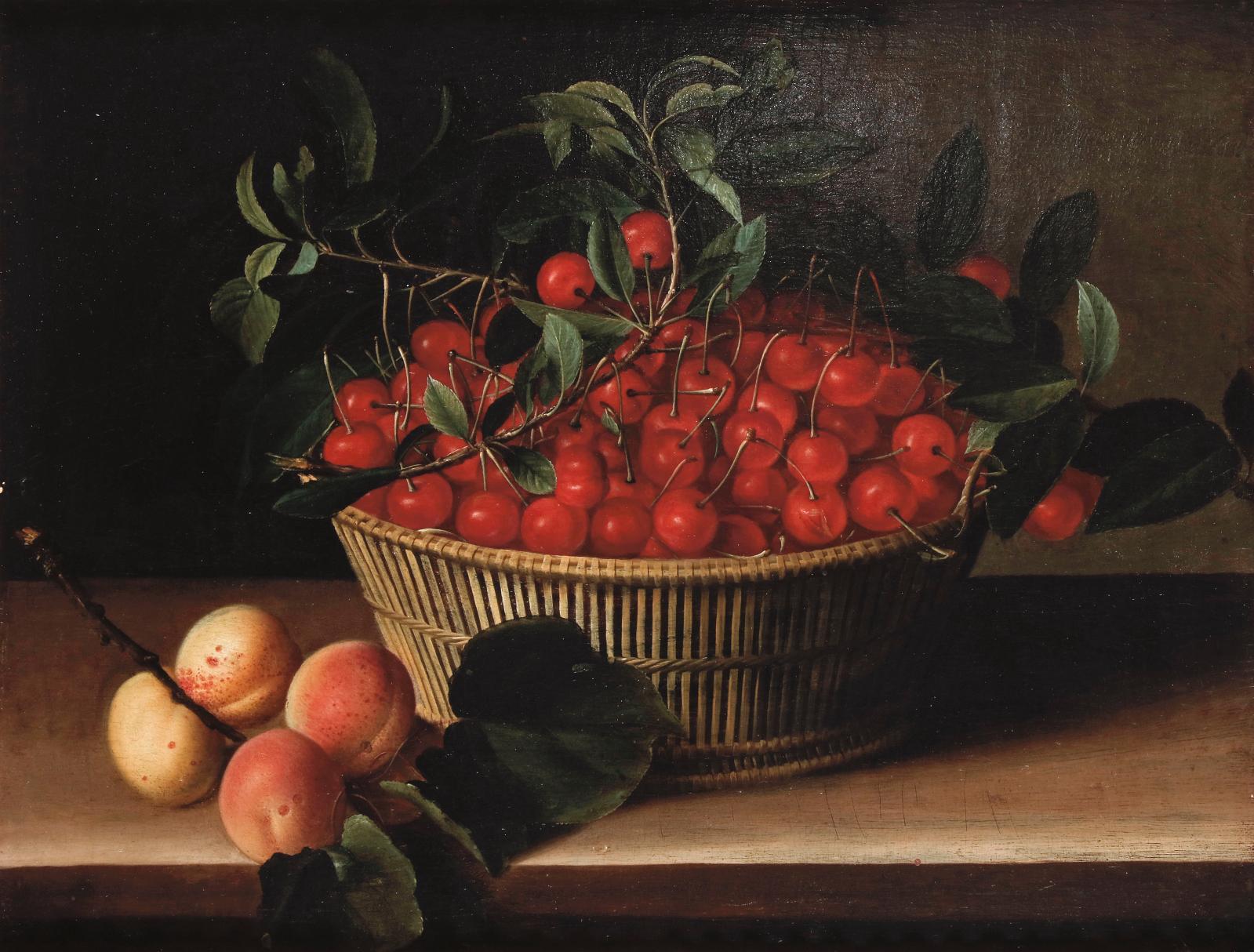 François Garnier (vers 1600-entre 1658 et 1672), Panier de cerises et branche d'abricots sur un entablement, huile sur panneau de chêne, 36x47cm. E