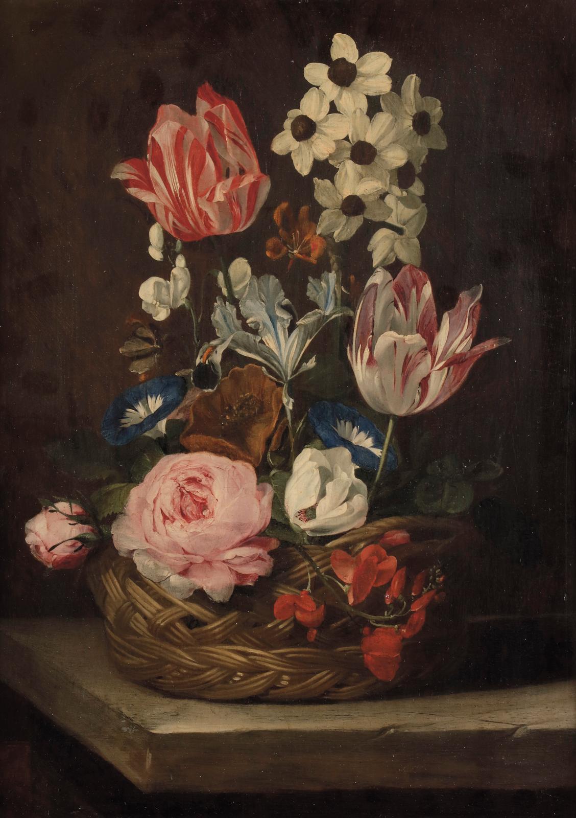 Jan van den Hecke (1620-1684), Panier de fleurs sur un entablement de pierre, 38,5x27cm. Estimation: 15000/20000€