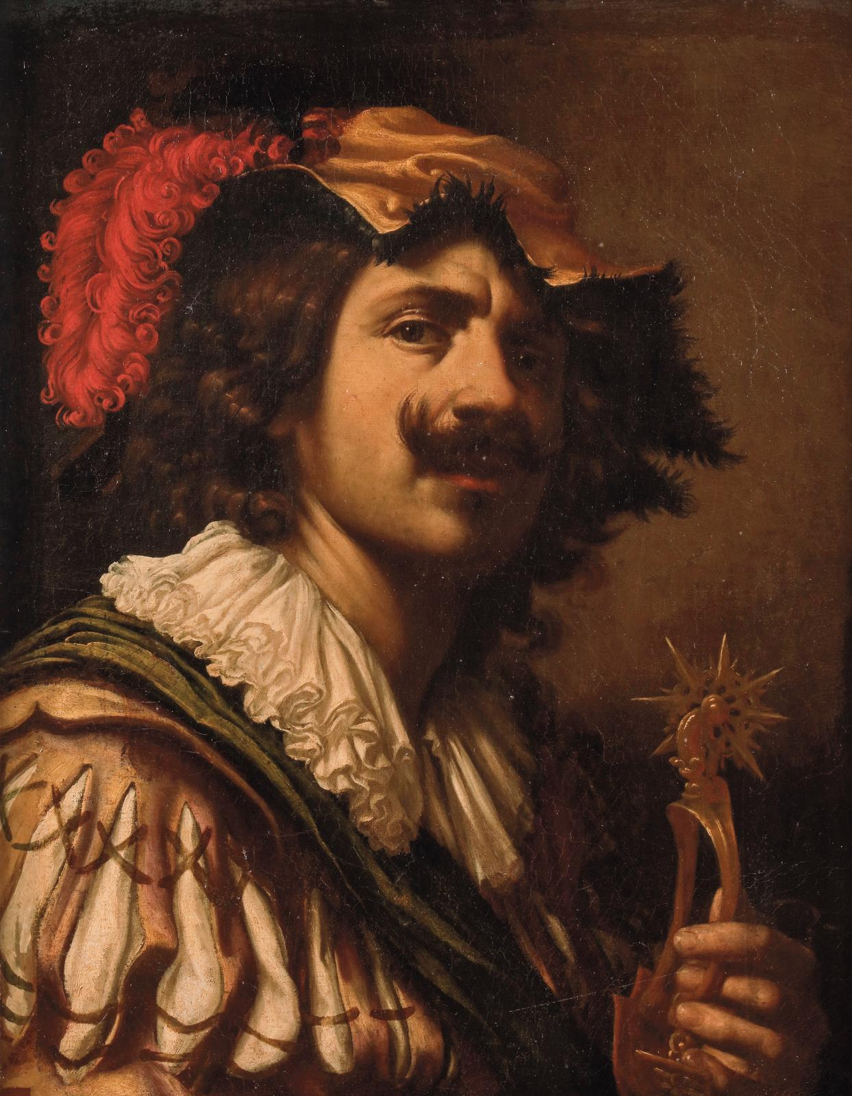 Francesco Lupicini (1591-vers 1656), Autoportrait présumé de l'artiste tenant un éperon, huile sur toile, agrandie sur trois côtés, 57x45,5cm. Esti