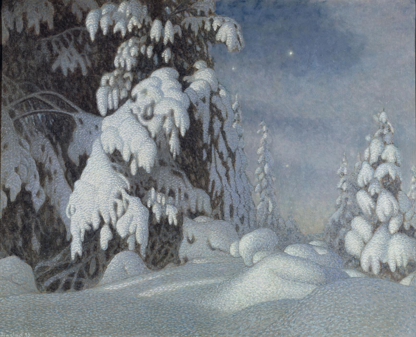 Gustaf Fjæstad,Clair de lune en hiver (Vintermansken), 1895, huile sur toile, 100x124cm, Stockholm, Nationalmuseum.