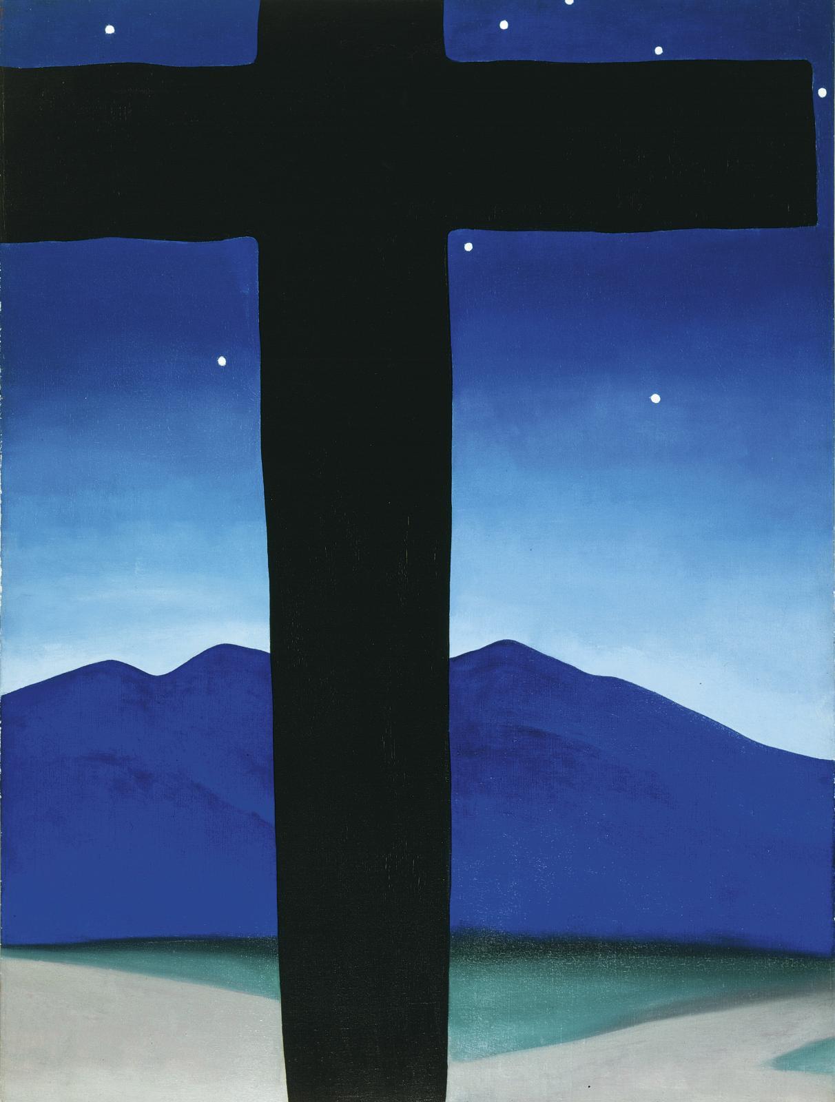 Georgia O'Keeffe, Croix noire aux étoiles, bleu (Black Cross With Stars and Blue), 1929, huile sur toile, 101,6x76,cm, collection particulière.