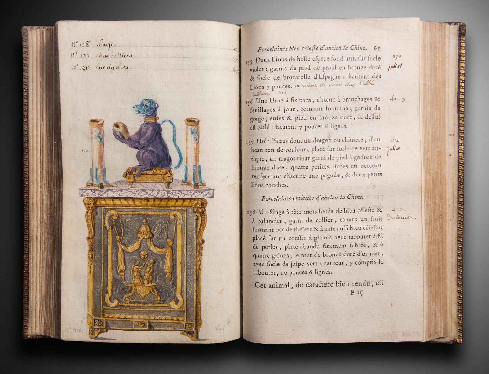 Exemplaire personnel et décoré d'aquarelles de Charles Germain de Saint-Aubin(1721-1786) du Catalogue des vases, colonnes, tables de marbres rares, f