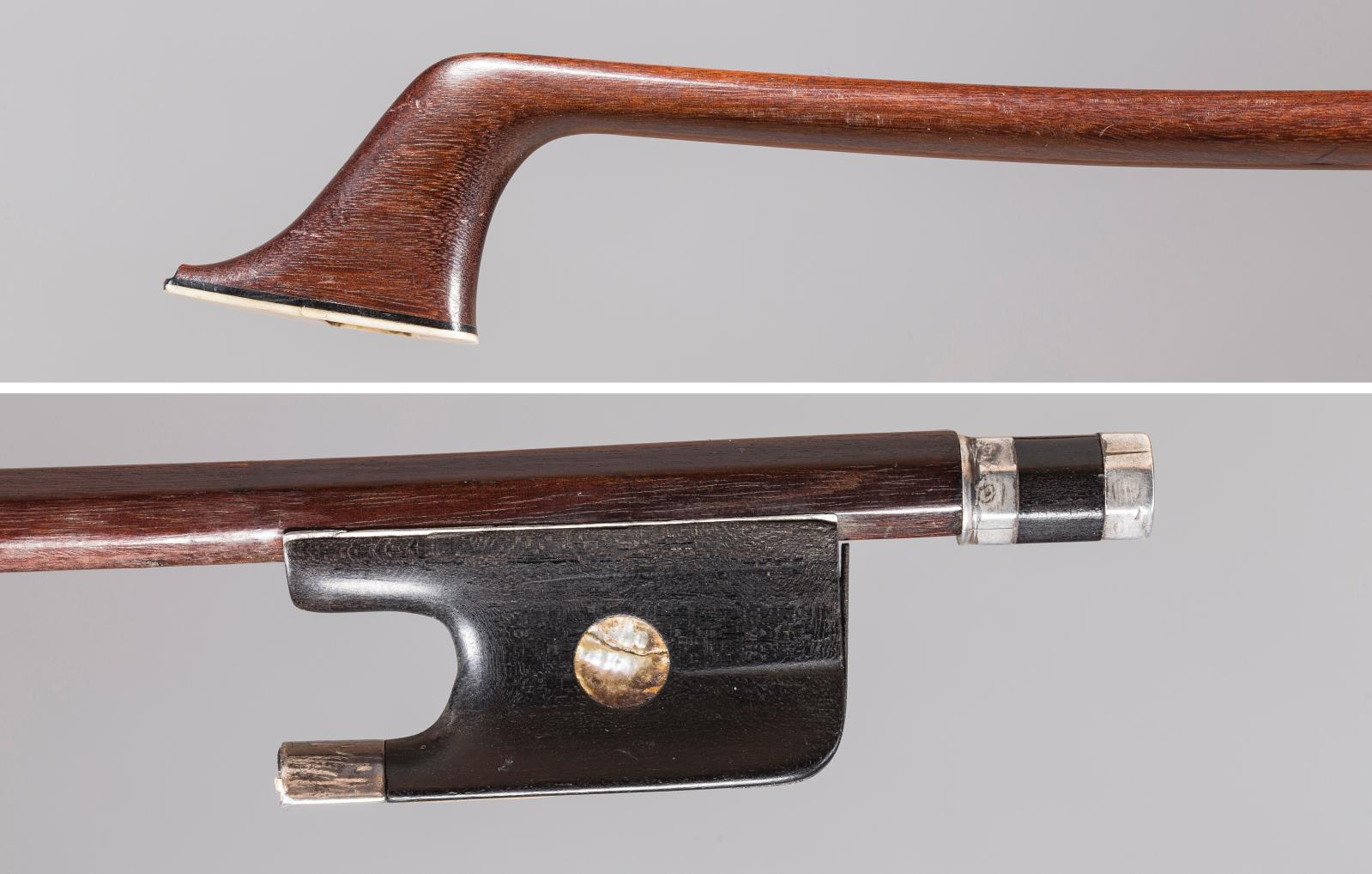 Dominique Peccatte (1810-1874), silver-mounted cello bow with neither hair nor grip.Result: €124,000