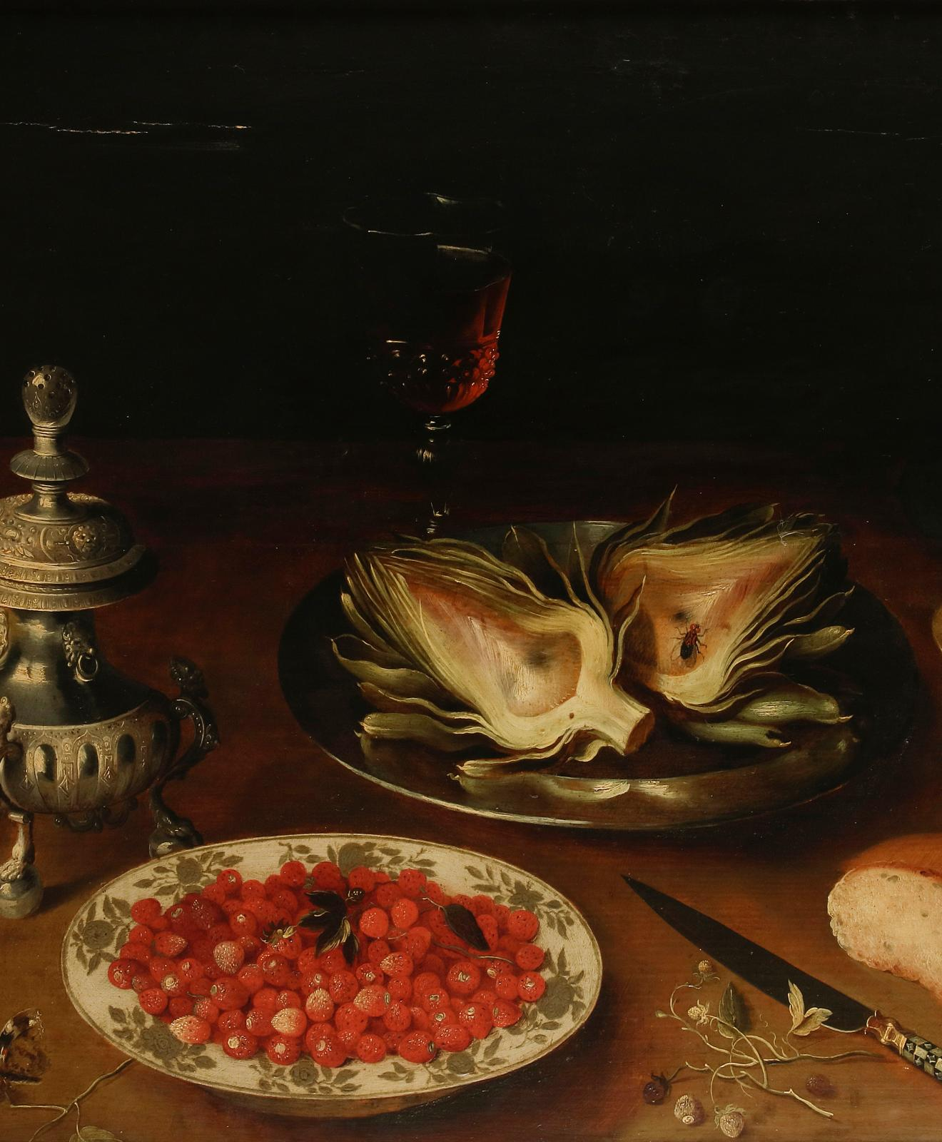 Osias Beert the Elder (c.1580-1624) and his studio, Plat d'artichauts, coupe de framboises, timbale de mûres et coupe de cerises, oil on oak panel, 53