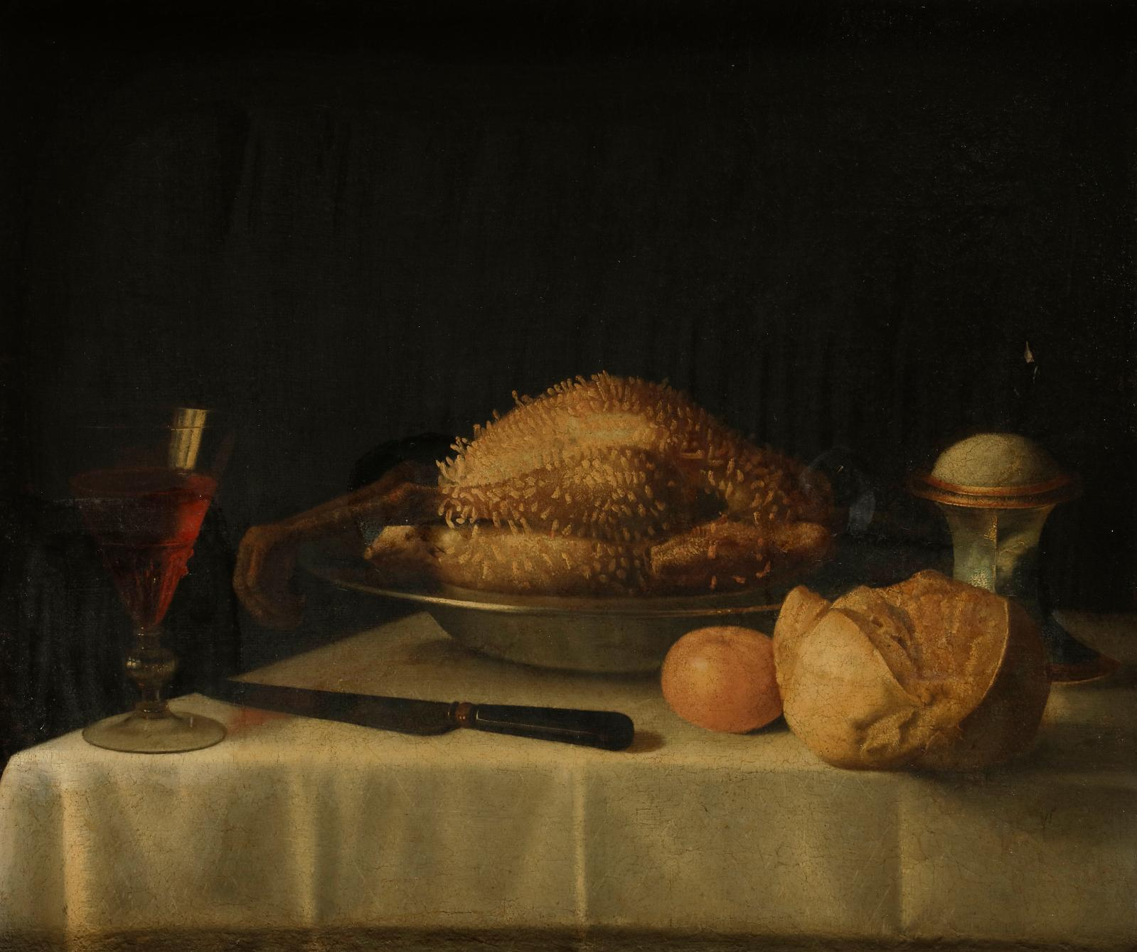Sébastien Stoskopff (1597-1657), Nature morte à la volaille lardée, salière, miche de pain et verre de vin, oil on canvas, 52.5 x 63 cm.Estimate: €40,