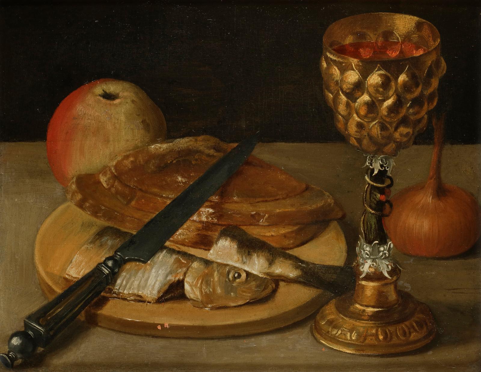 Georg Flegel (1566-1638), Nature morte au hareng et pokal, oil on panel, 21.6 x 27.5 cm.Estimate: €30,000/40,000