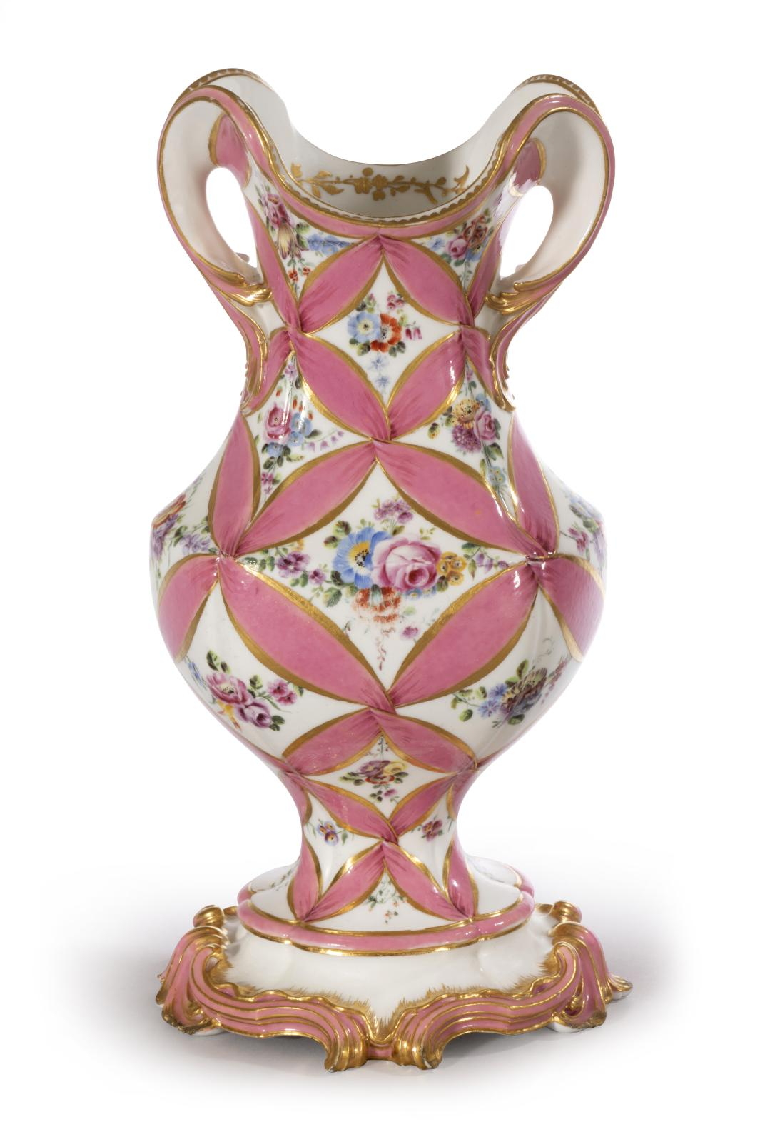 Rocaille vase with decoration of pink ribbons and bouquets of flowers painted naturalistically.