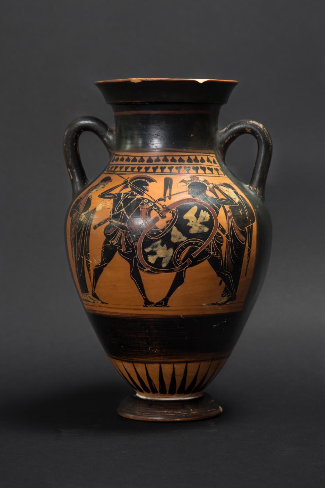 Grèce, vers 520av.J.-C. Amphore attique à figures noires, décorée d'un côté de la confrontation d'Achille et de Memnon, de l'autre d'un cavalier, te