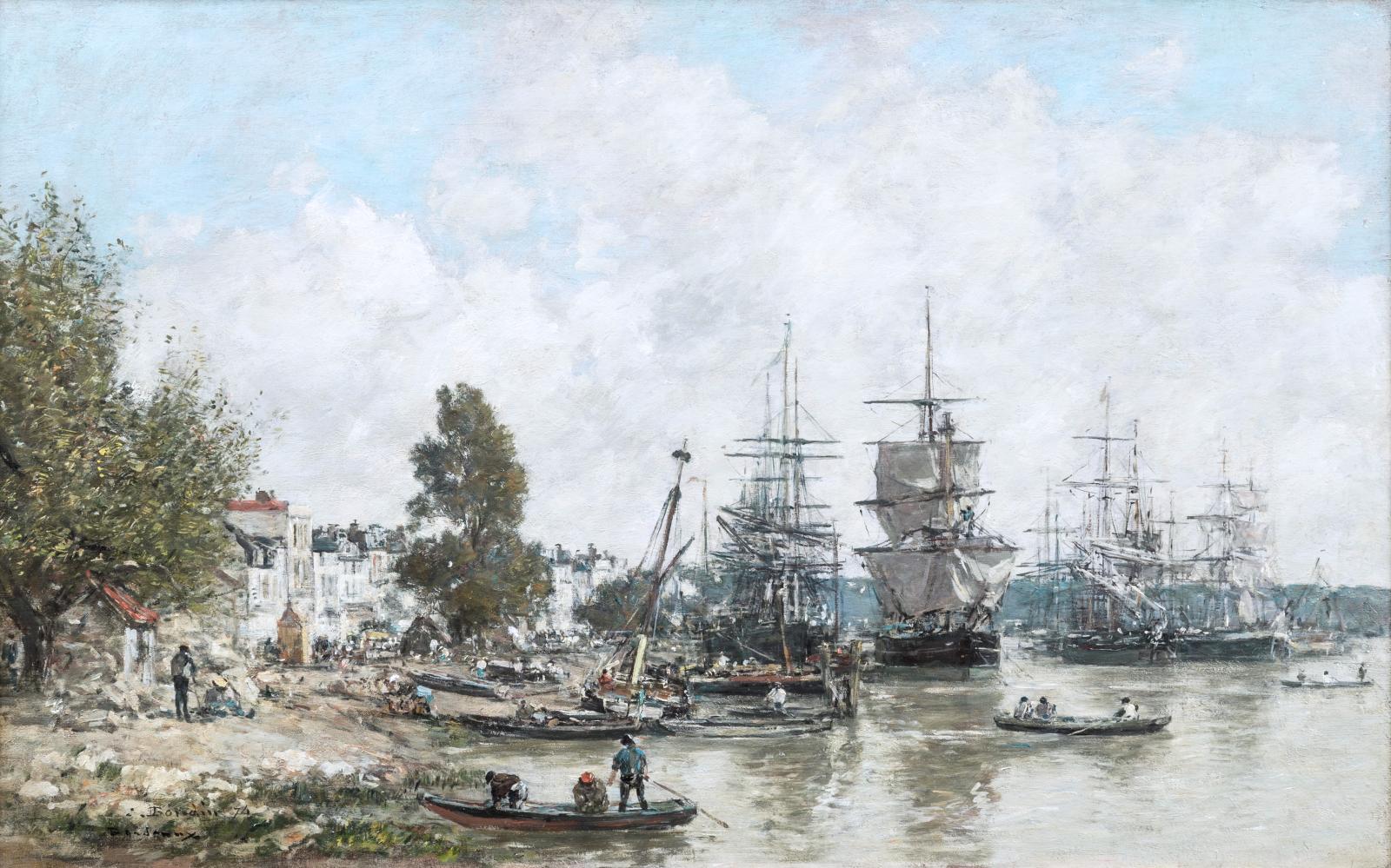 Eugène Boudin, Le Port de Bordeaux, 1874, huile sur toile, 40,5x65cm.