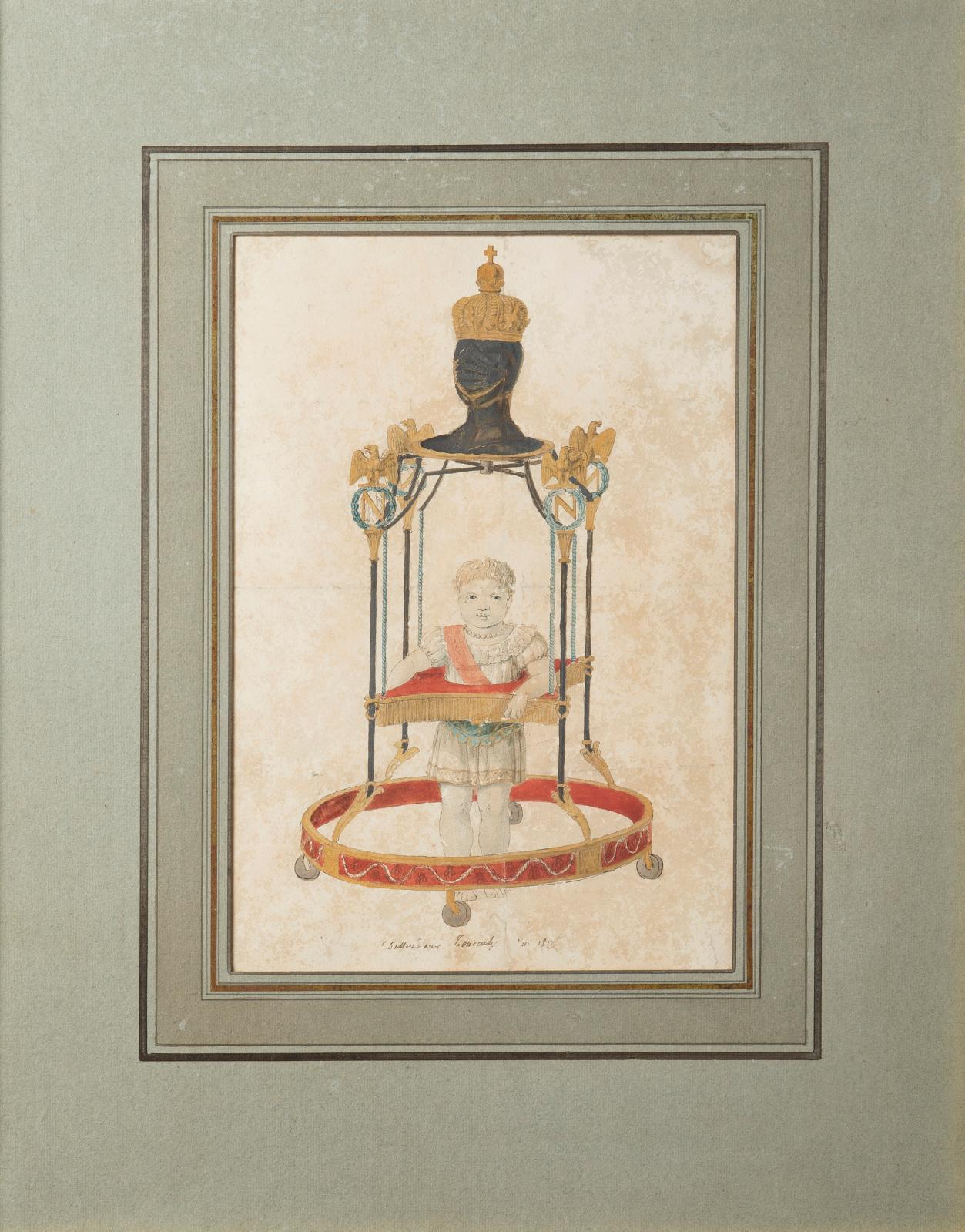 Tourcaty Jean-François (1763-?), Le Roi de Rome à l'âge de deux ans faisant ses premiers pas à l'aide d'un trotteur, 1812, dessin aquarellé, signé et