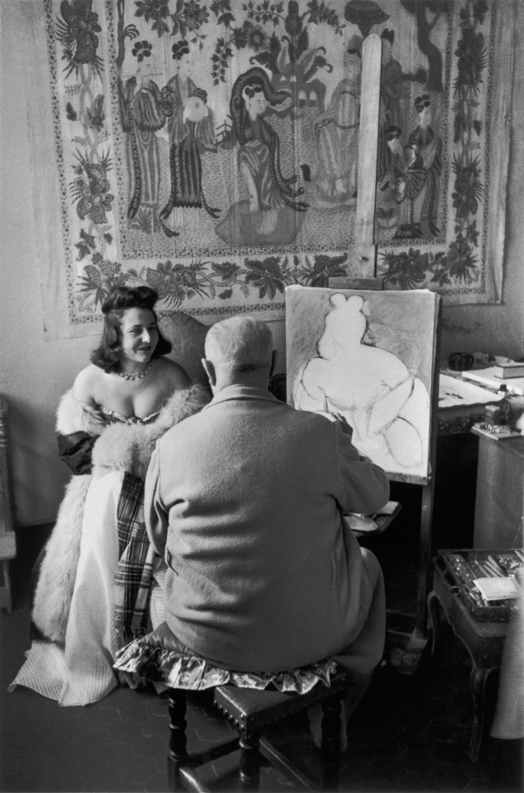 Henri Cartier-Bresson, Images à la sauvette (Verve, 1952), p.69, Henri Matisse et son modèle Micaela Avogadro, Vence France, 1944.