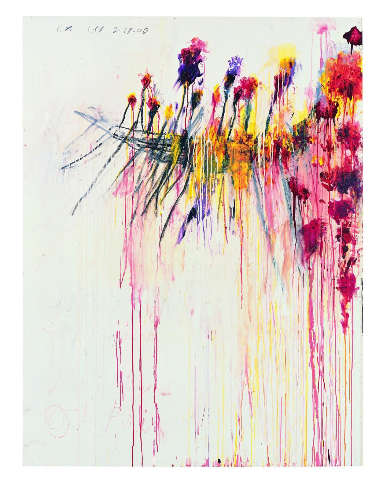 Cy Twombly, Coronation of Sesostris, 2000, partieV, acrylique, crayon à la cire, mine de plomb sur toile, 206,1x156,5cm, collection Pinault.