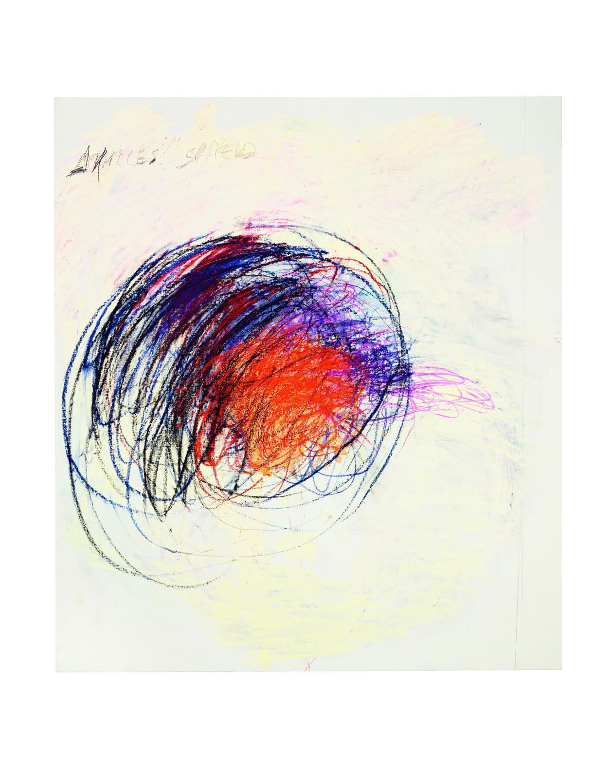 Cy Twombly, Fifty Days at Iliam: Shield of Achilles, 1978, partieI, huile, crayon à l'huile, mine de plomb sur toile, 191,8x170,2cm, Philadelphia
