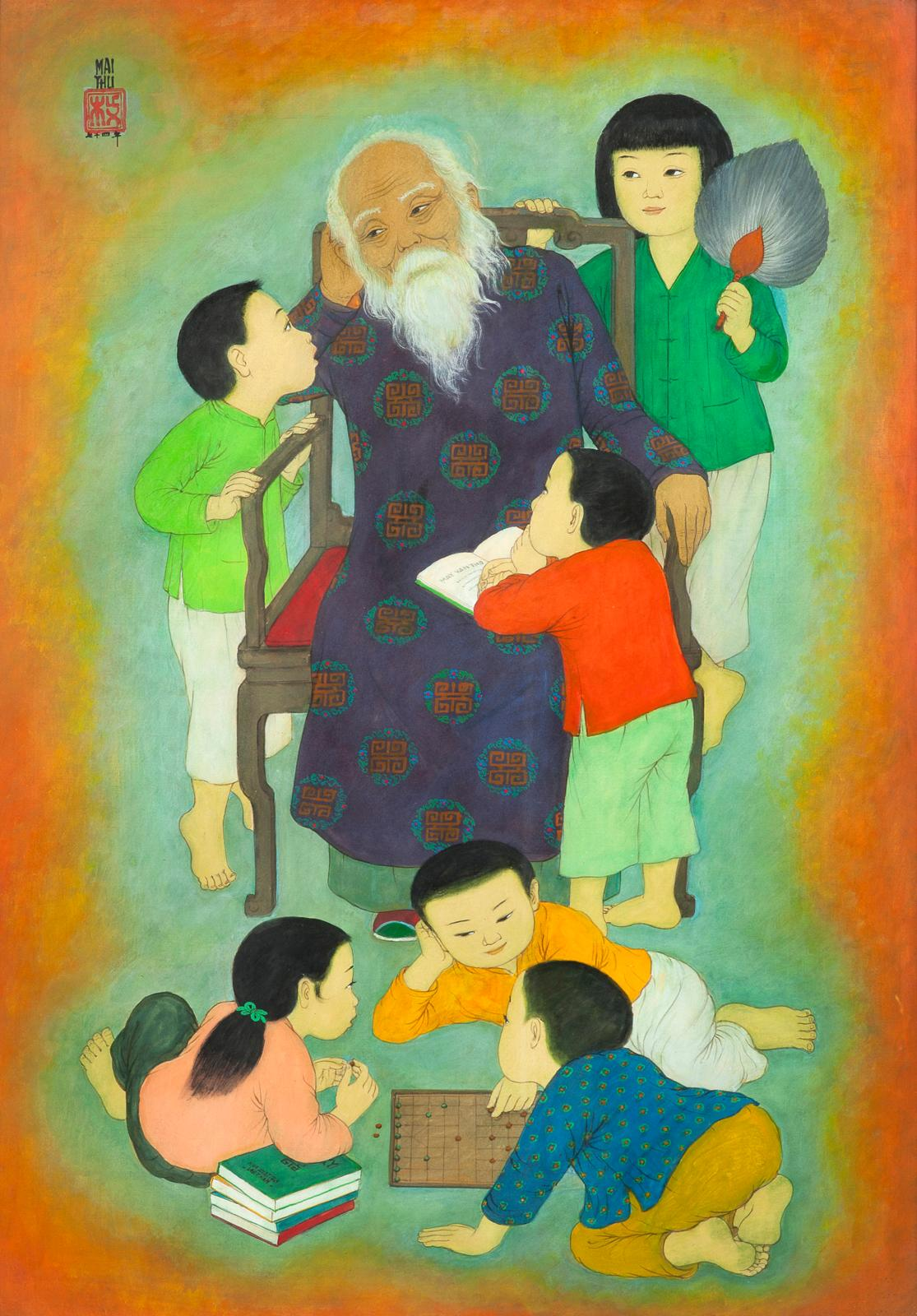 Mai Trung Thu, dit Mai-Thu(1906-1980), Auprès du grand-père, encre et couleurs sur soie, 100x81cm. Adjugé: 235832€