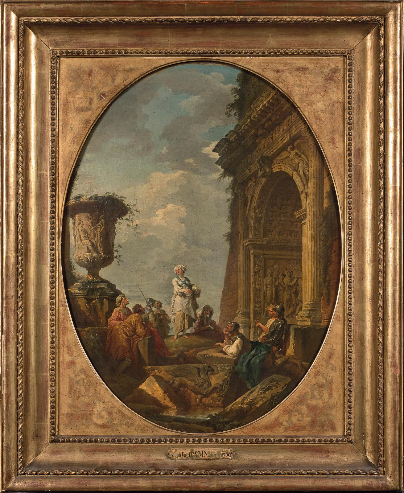 Les deux huiles sur toile de Giovanni Paolo Panini (1691-1765) étaient vendues ensemble pour 177240€. Le sujet de l'une était Sibylle vêtue de blanc