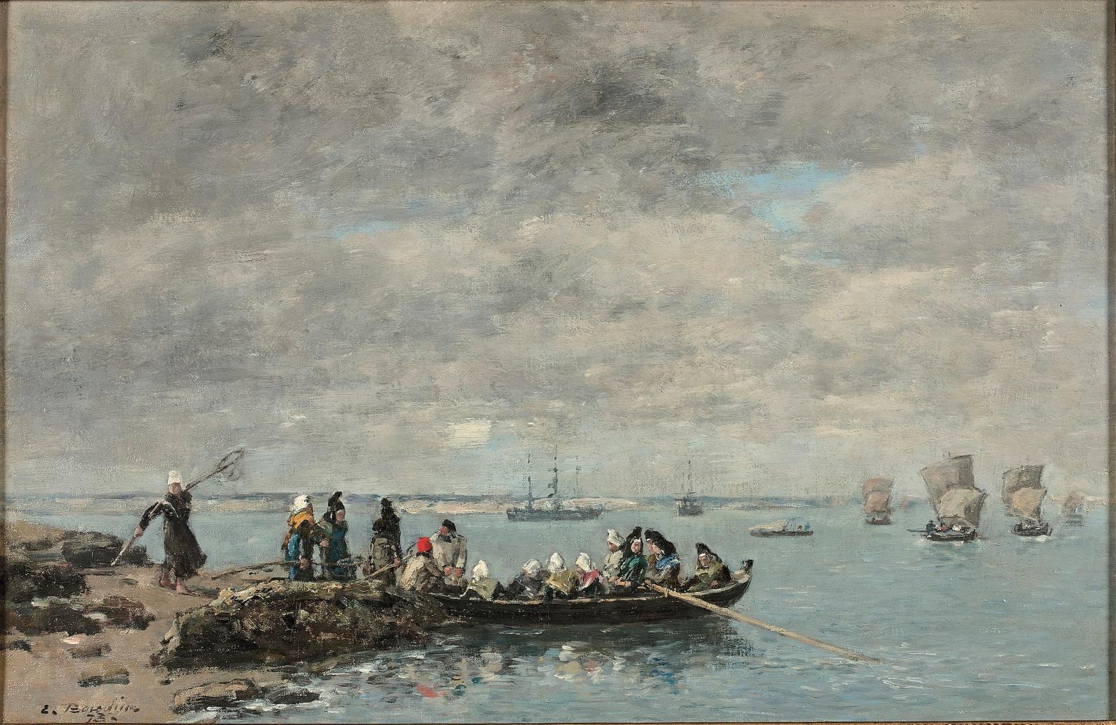 Une huile sur toile de 1873 d'Eugène Boudin (1824-1898) embarquait à 103812€ avec les pêcheuses de Kerhor (30,8x46,6cm). Les coiffes blanches des