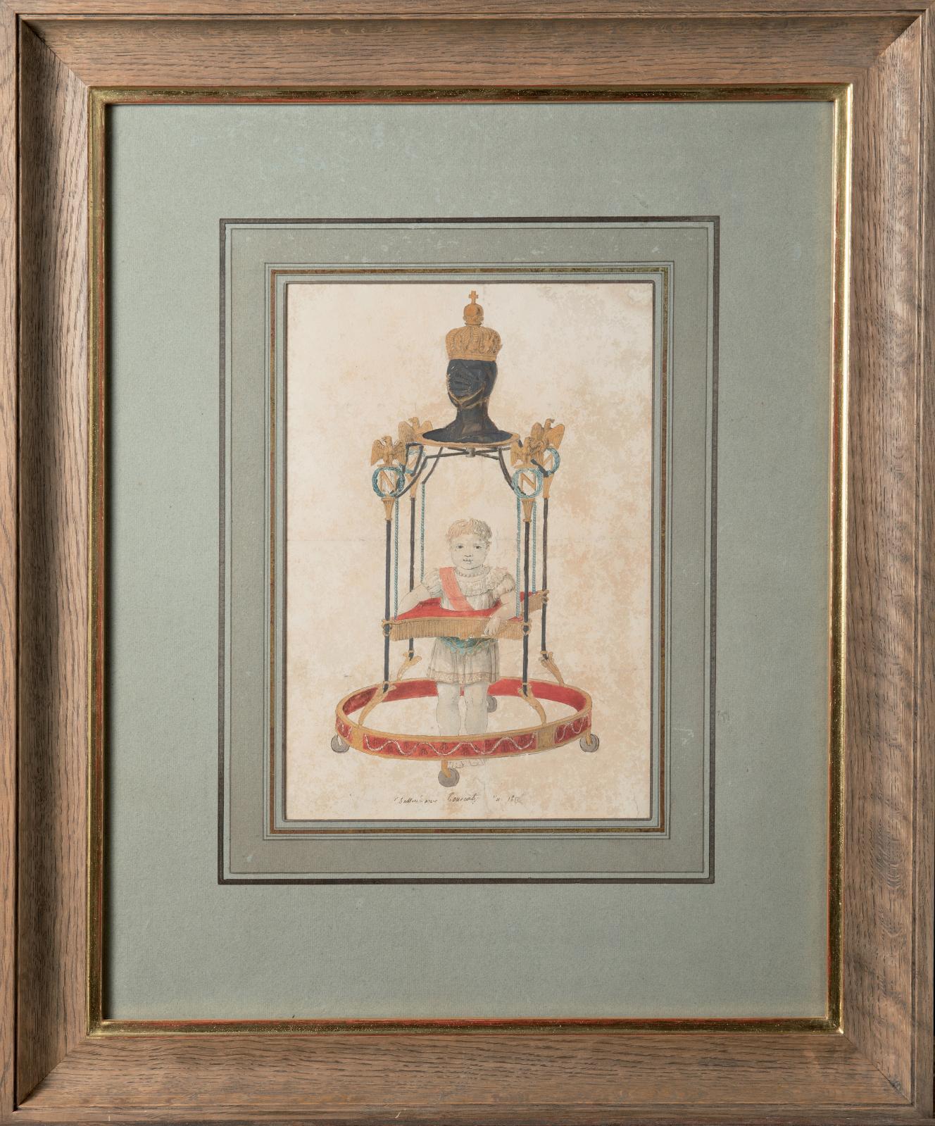 Tourcaty Jean-François (1763-?), Le Roi de Rome à l'âge de deux ans faisant ses premiers pas à l'aide d'un trotteur, 1812, watercolour drawing, signed