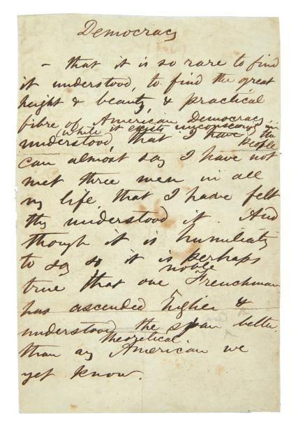 €20,402Walt Whitman (1819-1892), Democracy, ca. 1867-1870, autograph manuscript, duodecimo. Paris, Drouot, 28 November 2013. Pierre Bergé & Associés a