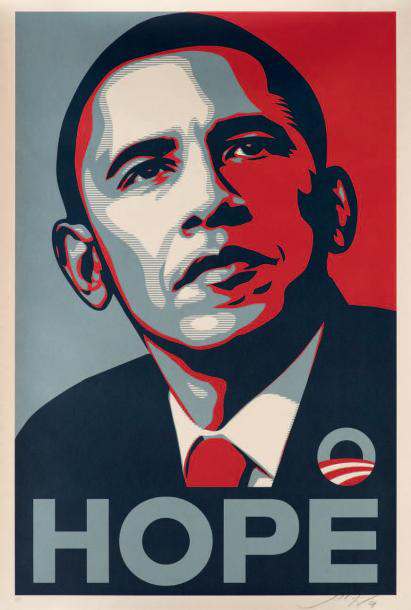 €4,685Shepard Fairey (b. 1970), Obama Hope AP, 2008, colour silkscreen on paper, 91.5 x 61 cm. Paris, Drouot, 25 October 2013. Digard auction house.