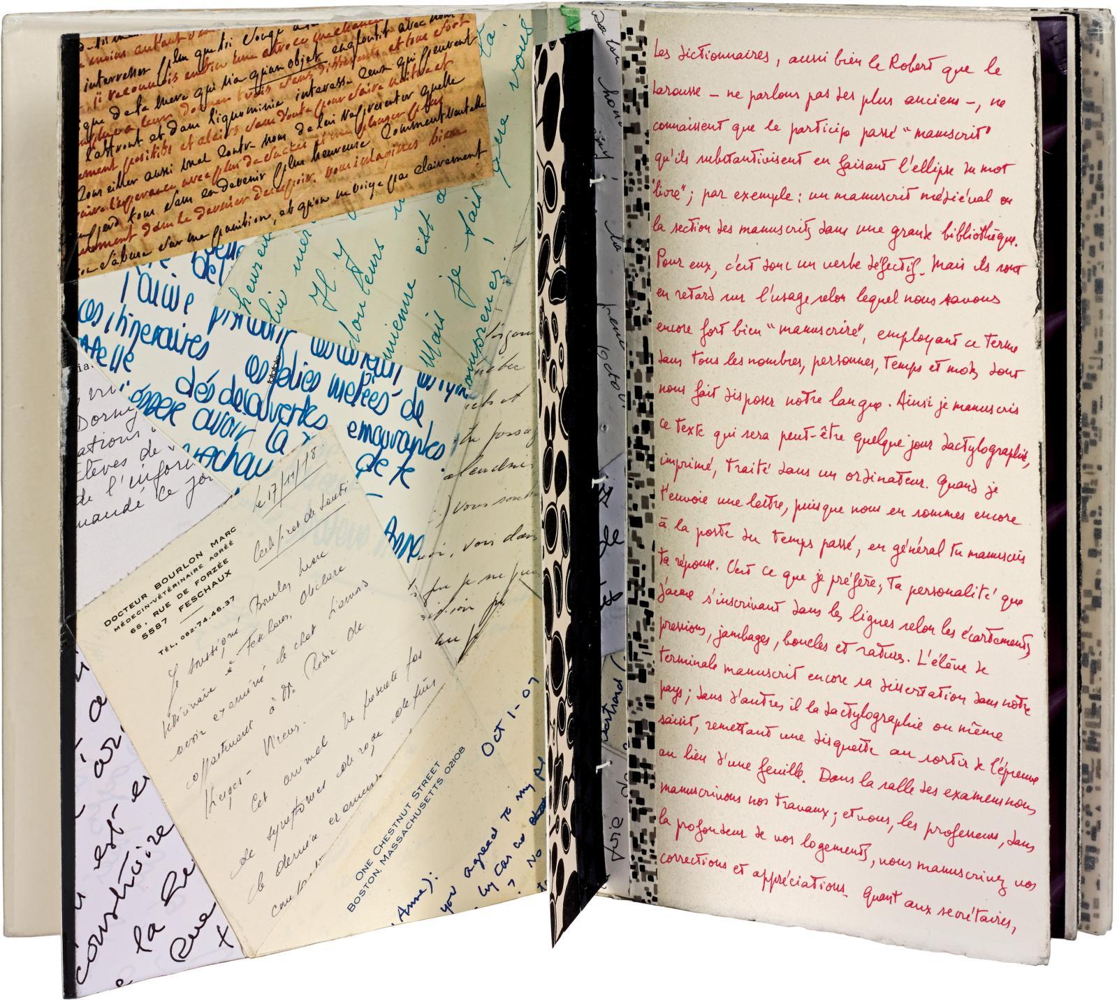 Michel Butor - Bertrand Dorny (1931-2015), Manuscrire, Paris, Lucinges (Haute-Savoie), 2007, plaquette petit in-4o de 10feuillets montés en accordéon