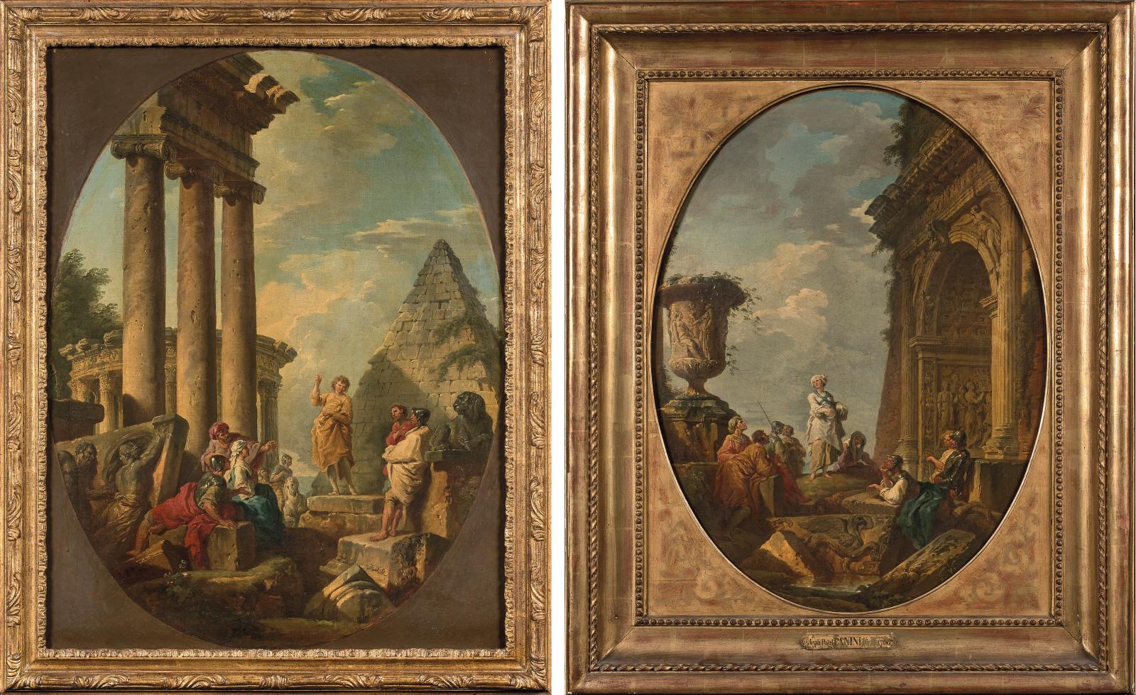 Giovanni Paolo Panini (1691-1765), Apôtre en robe jaune devant une pyramide (An architectural capriccio with an apostle preaching) and Sibylle vêtue d
