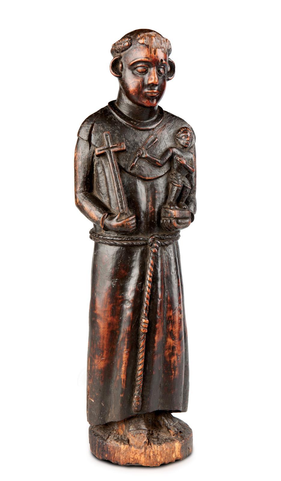 Toni Malau, statue de saint Antoine, bois, XVIIe-XVIIIe siècle, 47,7x12,5x12,5cm, culture kongo.