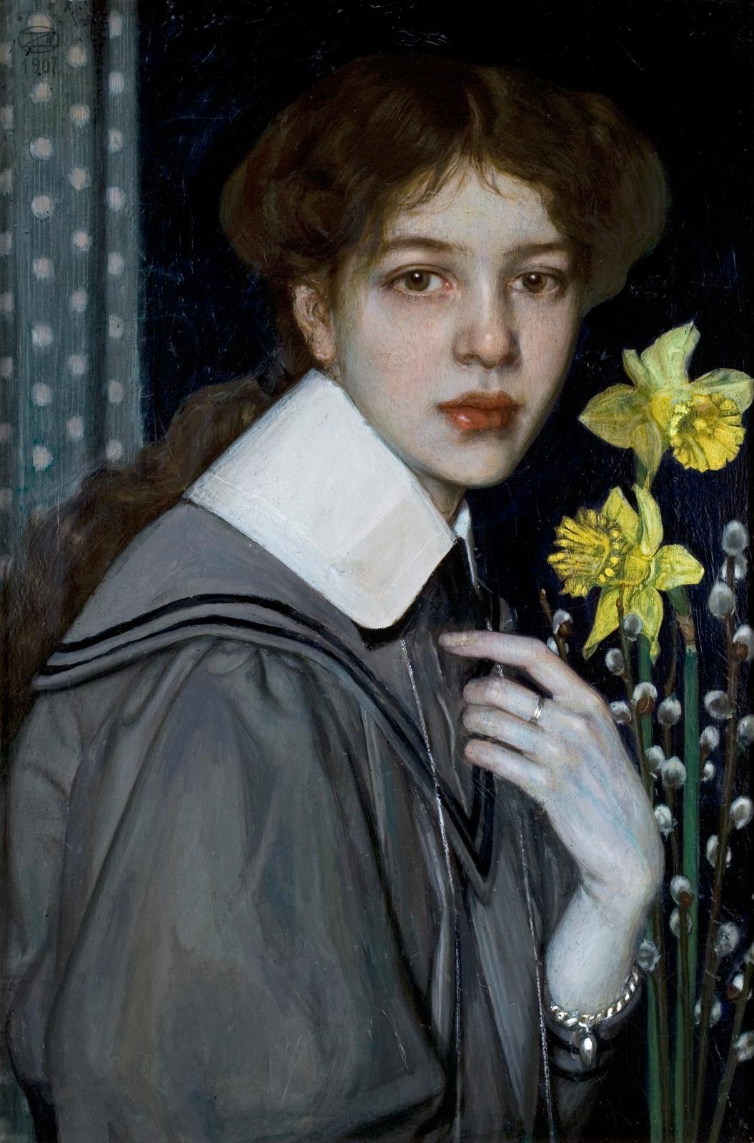 Oskar Zwintscher (1870-1916), Portrait avec des narcisses jaunes, 1907, huile sur toile, 64,5x42cm.