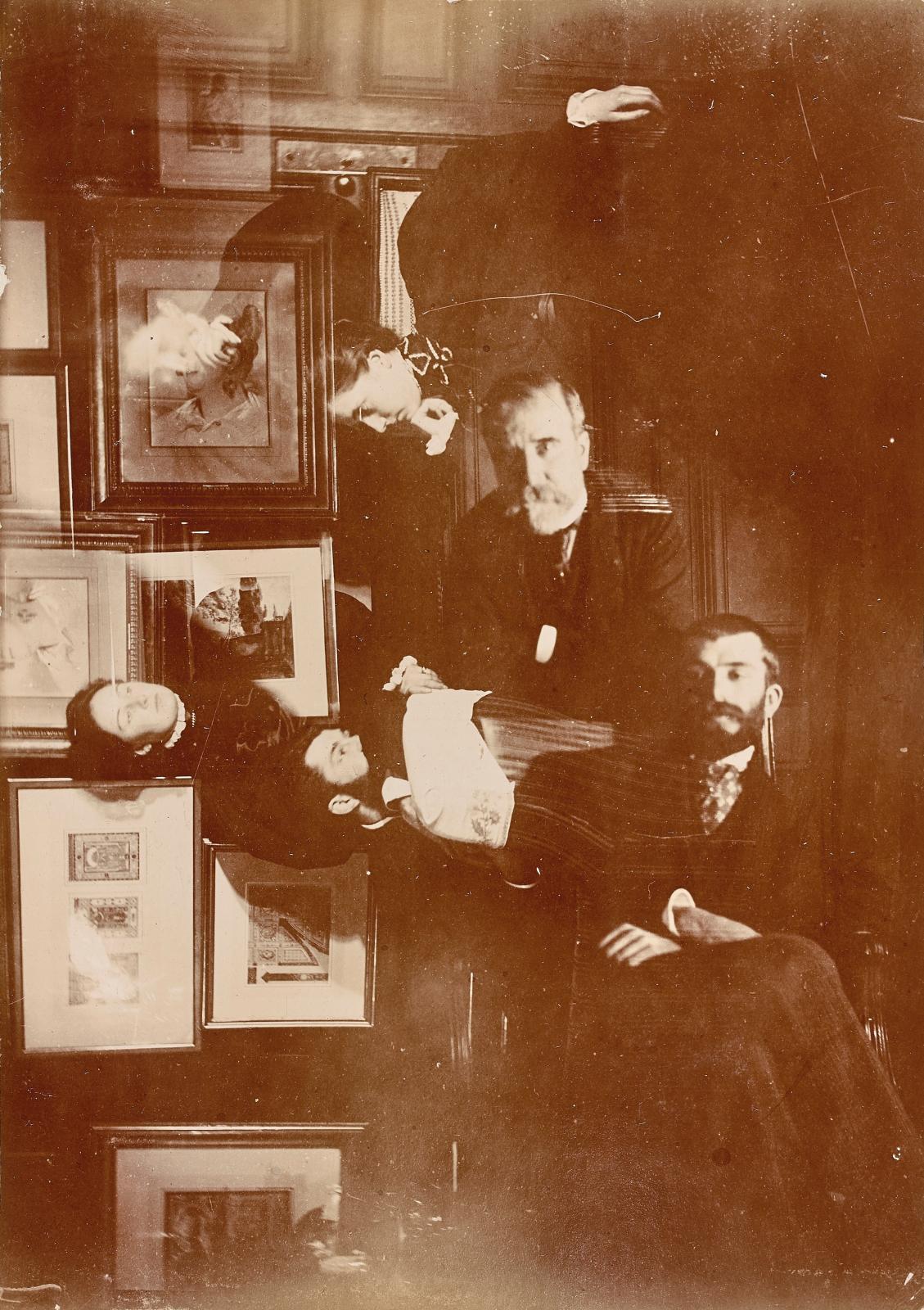 Edgar Degas. Mathilde et Jeanne Niaudet, Daniel Halévy, Henriette Tascherau; en surimpression, Ludovic et Élie Halévy.