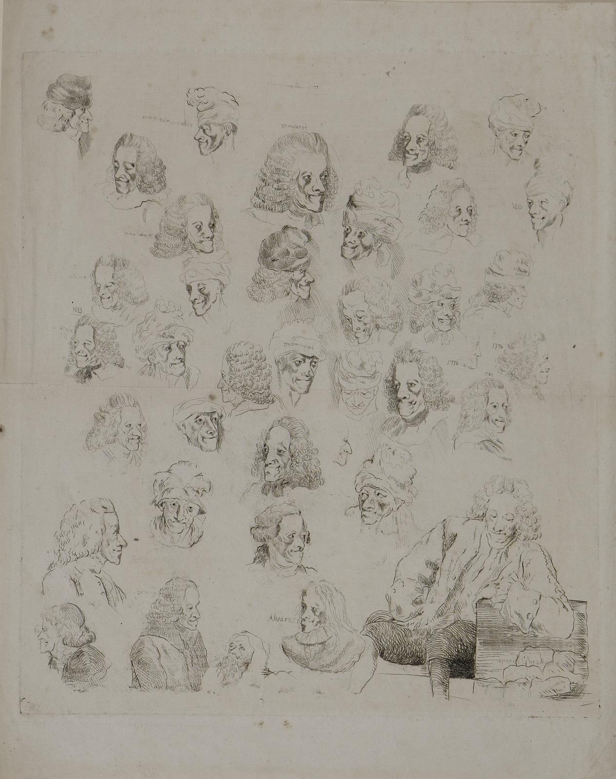Dominique Vivant Denon (1747-1825), d'après Jean Huber, Trente-cinq études de têtes de Voltaire âgé de 81 ans, vers 1780, d'après des dessins vers 177