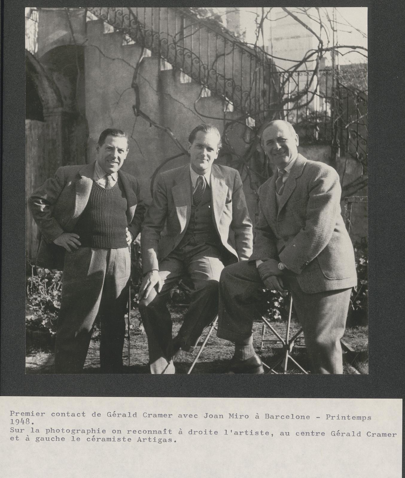 Josep Llorens Artigas, Gérald Cramer et Joan Miró : premier contact de l'éditeur avec l'artiste, Barcelone printemps, 1948.