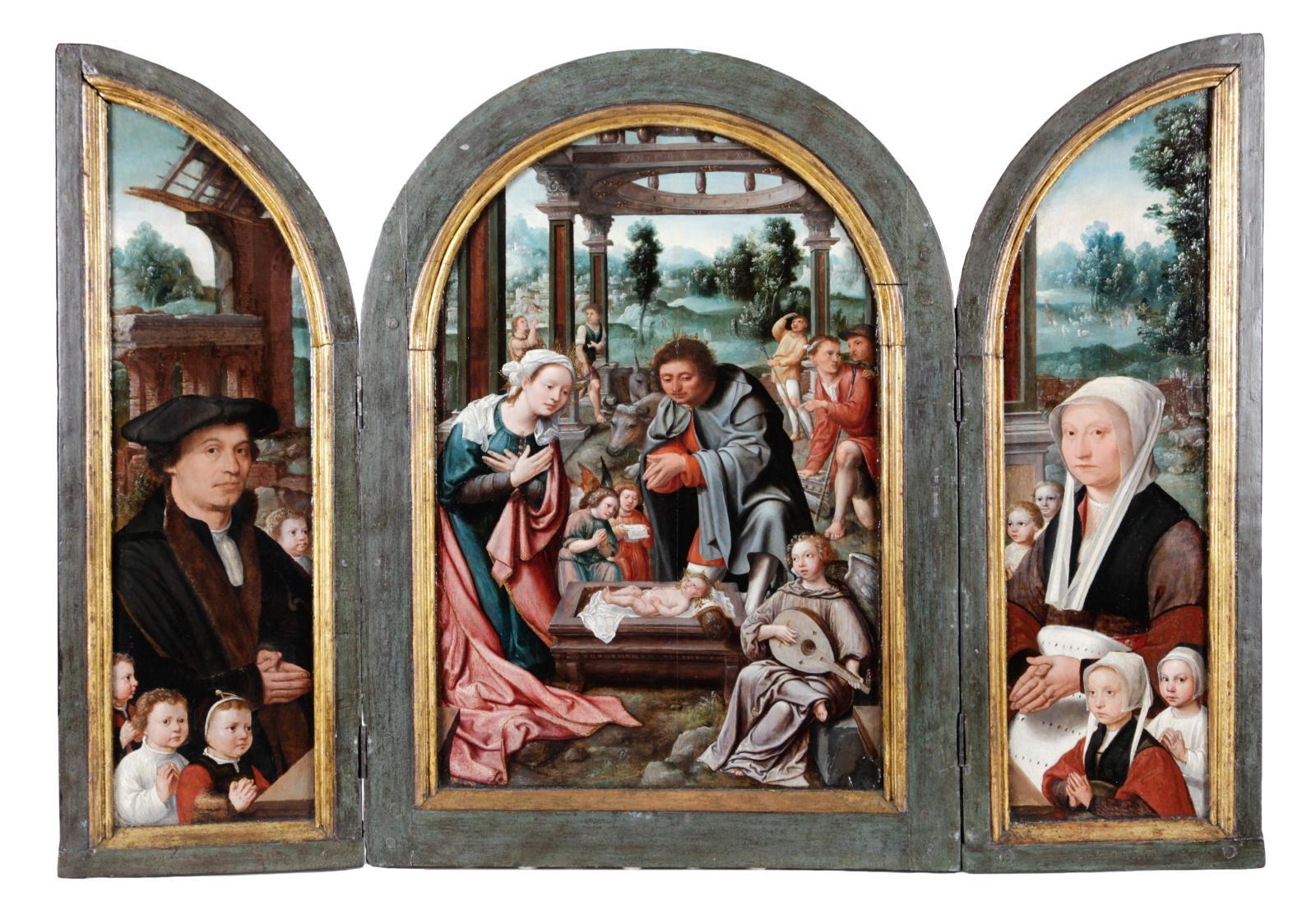 Dirck Jacobsz (1497-1576), triptyque de l'Adoration, 1531, huile sur panneau, 47x64 cm.Présenté par Jan Muller Antiques.