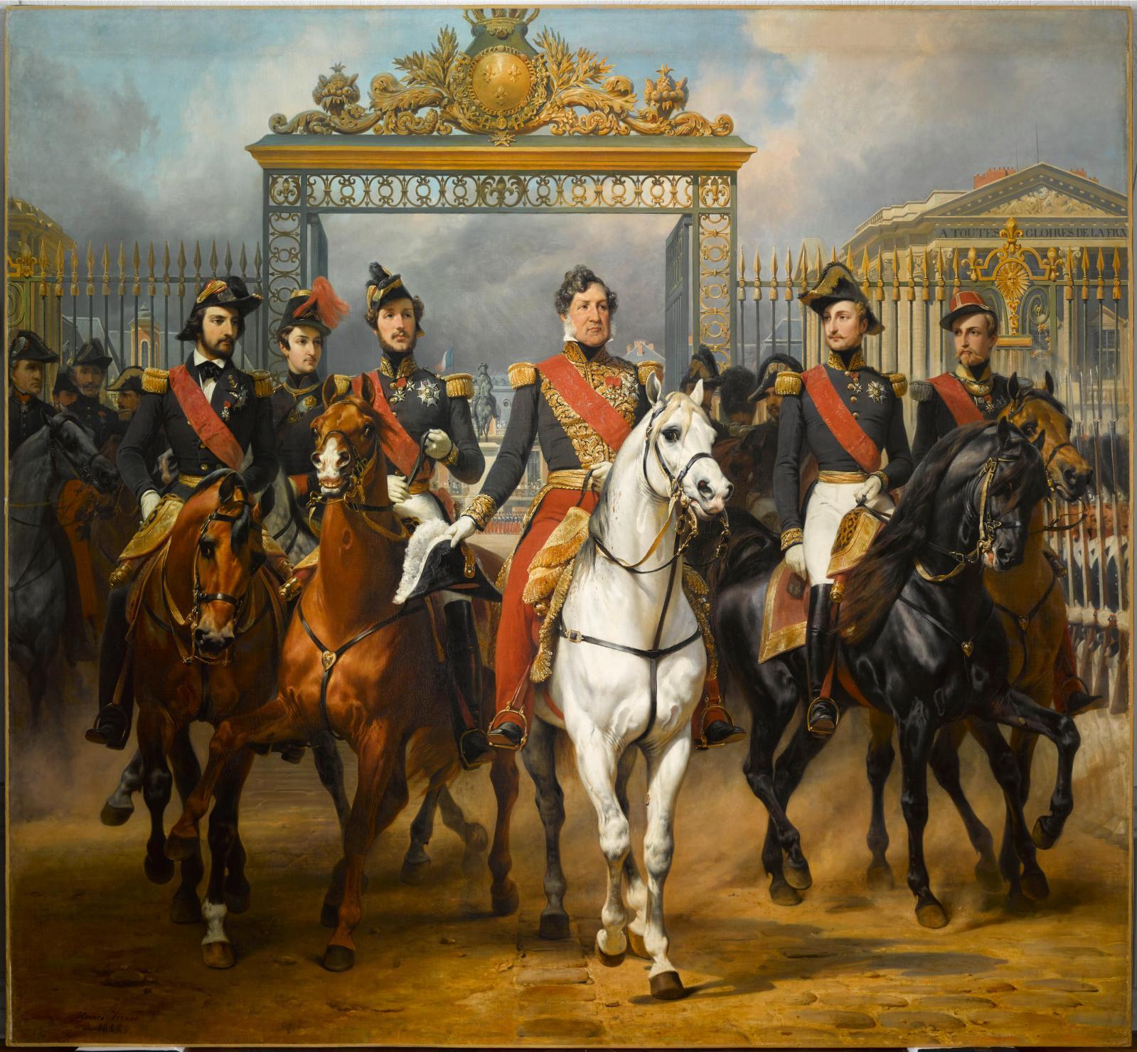 Horace Vernet(1789-1863), Le Roi Louis-Philippe entouré de ses cinq fils sortant par la grille d'honneur du château de Versailles après avoir passé u