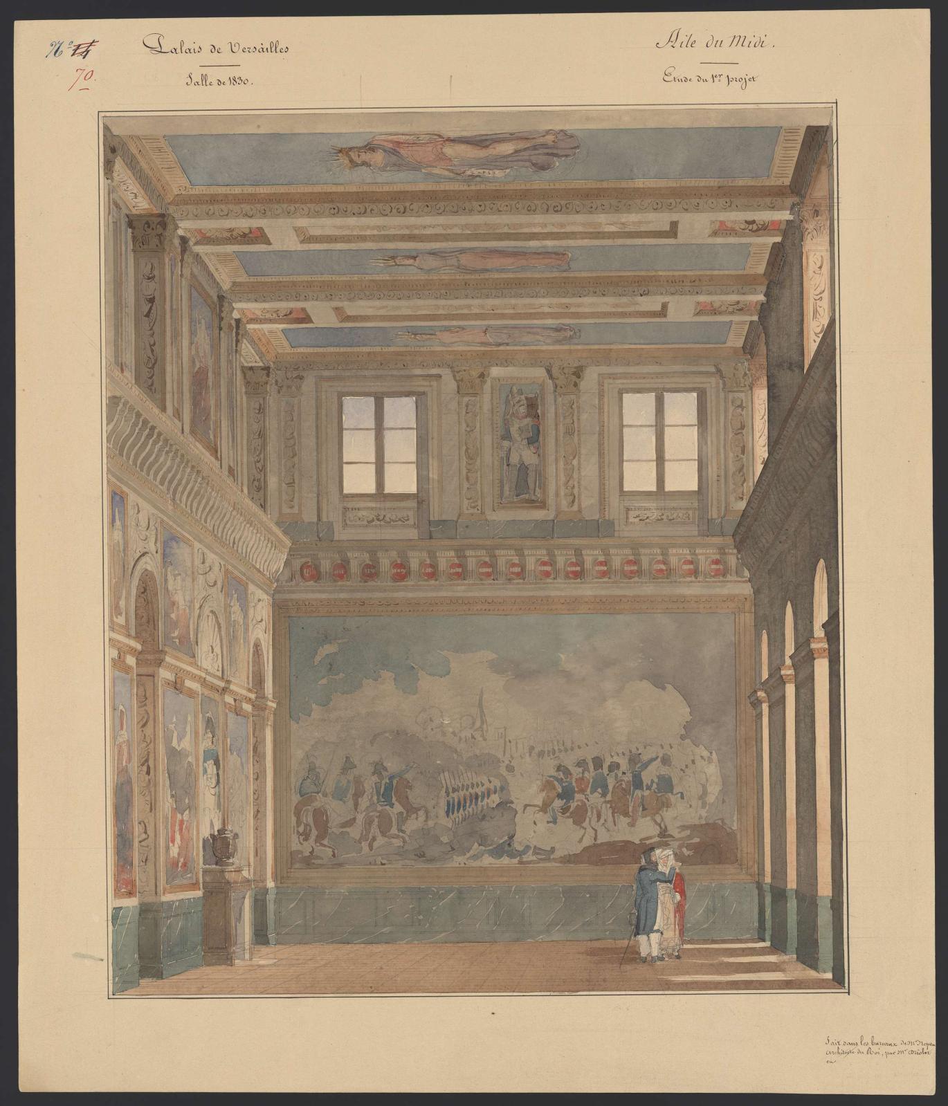 Frédéric Nepveu(1777-1862), Palais de Versailles. Aile du Midi. Élévation de la salle de 1830, premier projet, janvier-octobre1834, musée national d