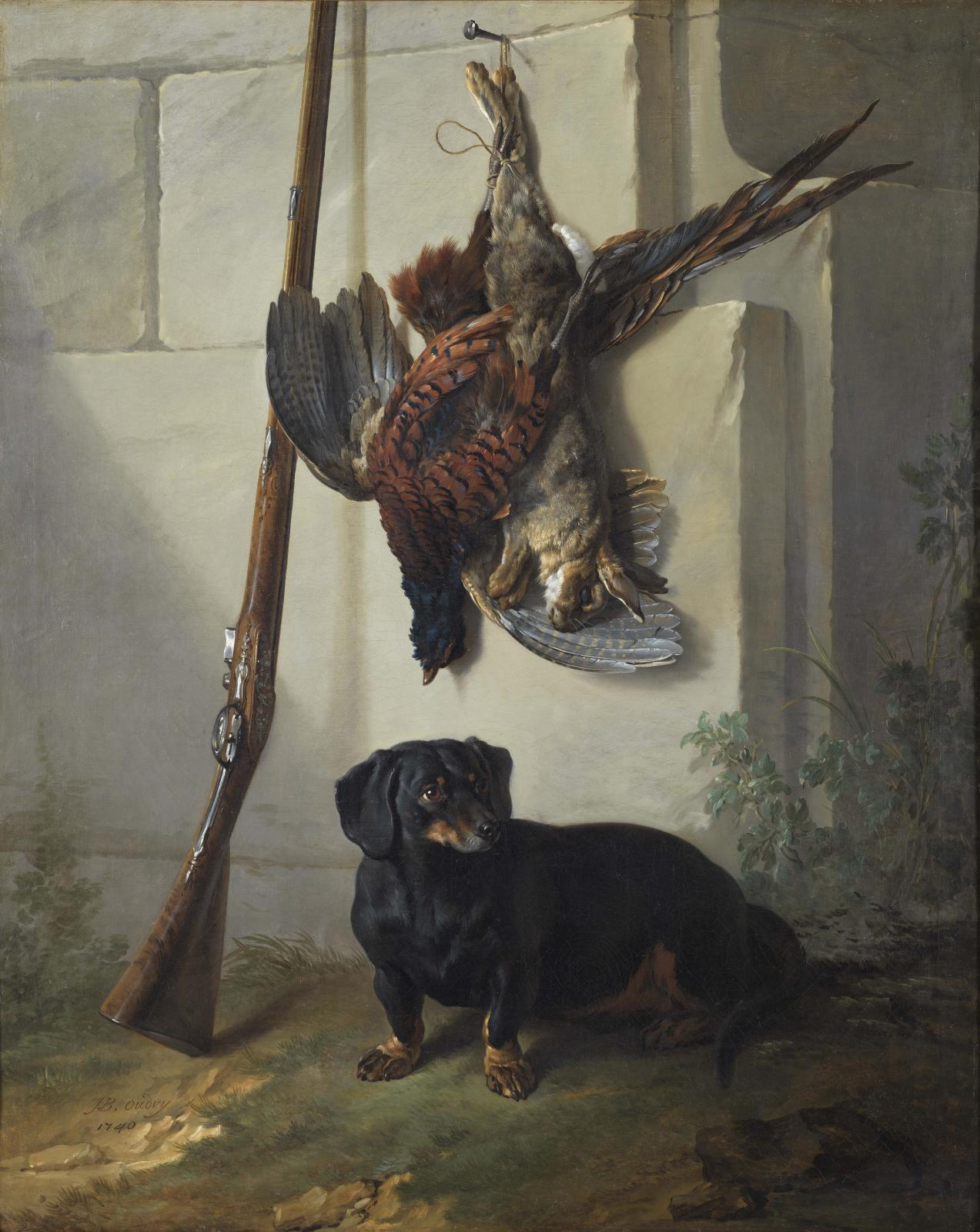 Jean-Baptiste Oudry (1686-1755), «Pehr» le basset de Tessin, gibier mort et fusil, Nationalmuseum, Stockholm.