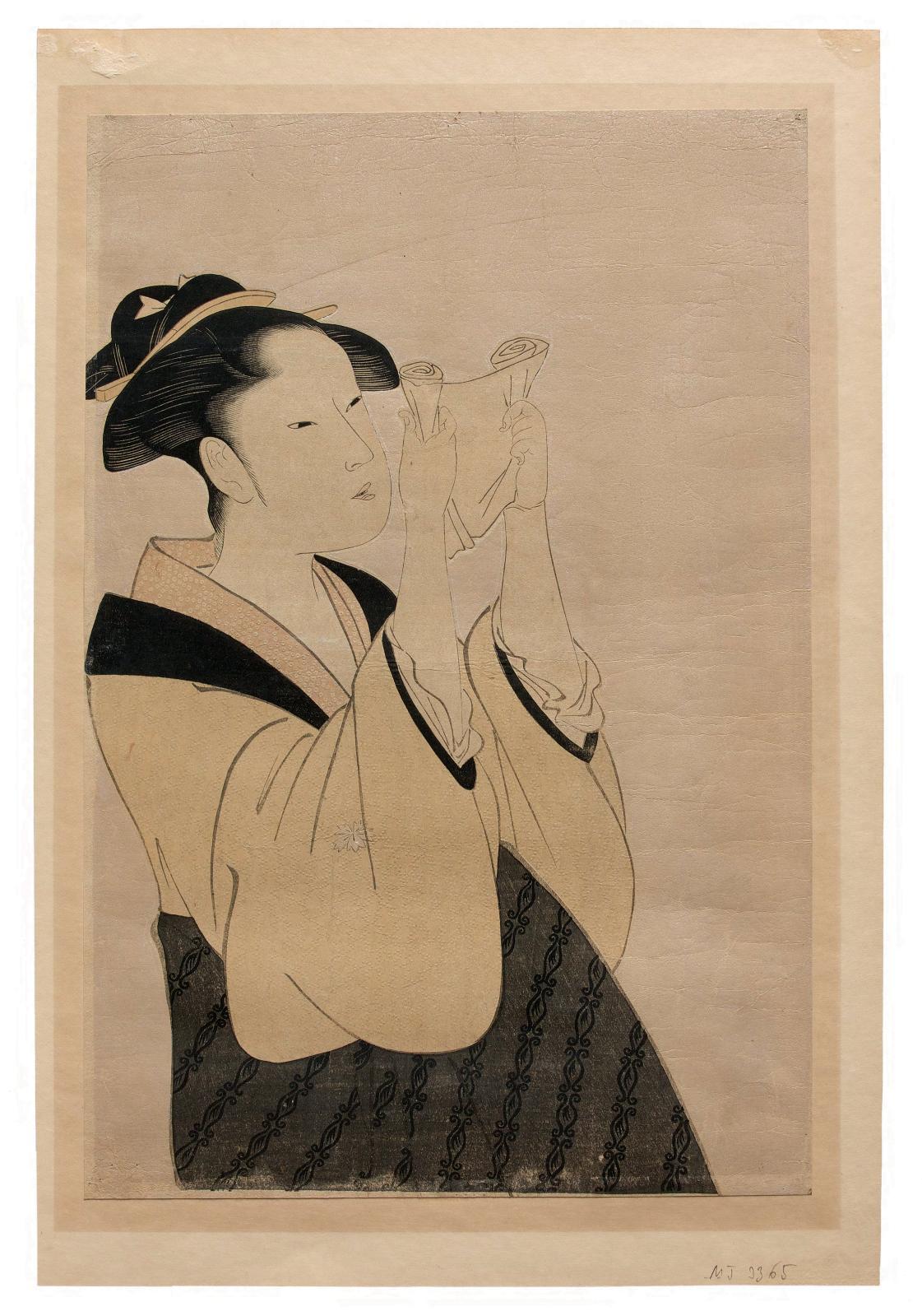 Kitagawa Utamaro (1753?-1806), Jeune Femme lisant une lettre (Fumi yomu onna), de la série «Dix types des physionomies de femmes» (Fujo ninso juppon)