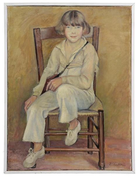 Sonia Lewitska (1882-1937), Portrait d'enfant assis, huile sur toile signée, 97x72cm. Saint-Cloud, 5octobre2014. Le Floc'h SVV, Cabinet Brun-Pera