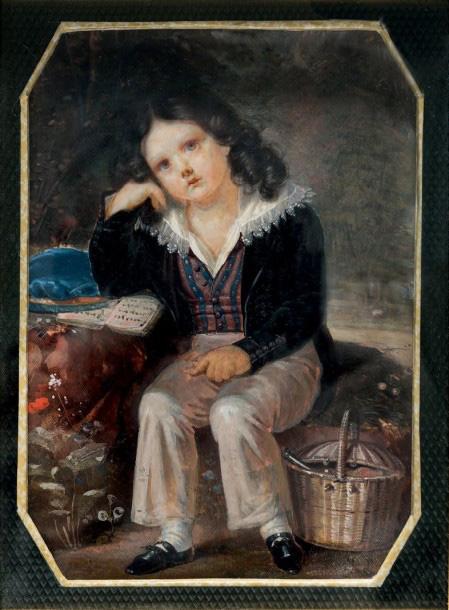 Joseph-François Le Roy (1768-1829), Portrait d'un jeune garçon pensif (probablement le fils de l'artiste), assis dans un paysage et accoudé sur un liv