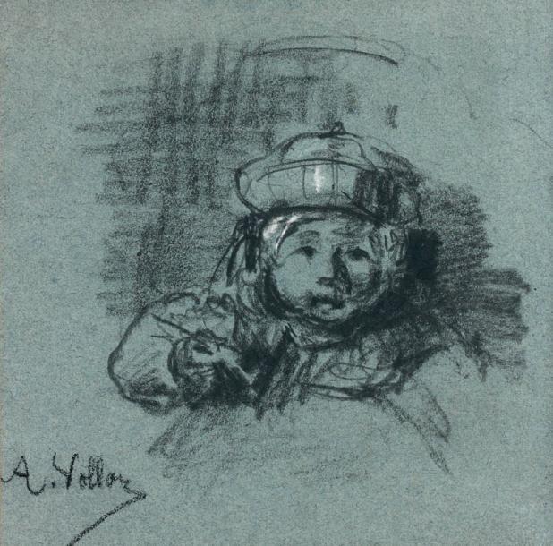 Antoine Vollon (1833-1900), Portrait d'Alexis Vollon, crayon noir et rehauts de craie blanche sur papier bleu, signé, 19,5x19,5cm. Paris, Drouot, 3