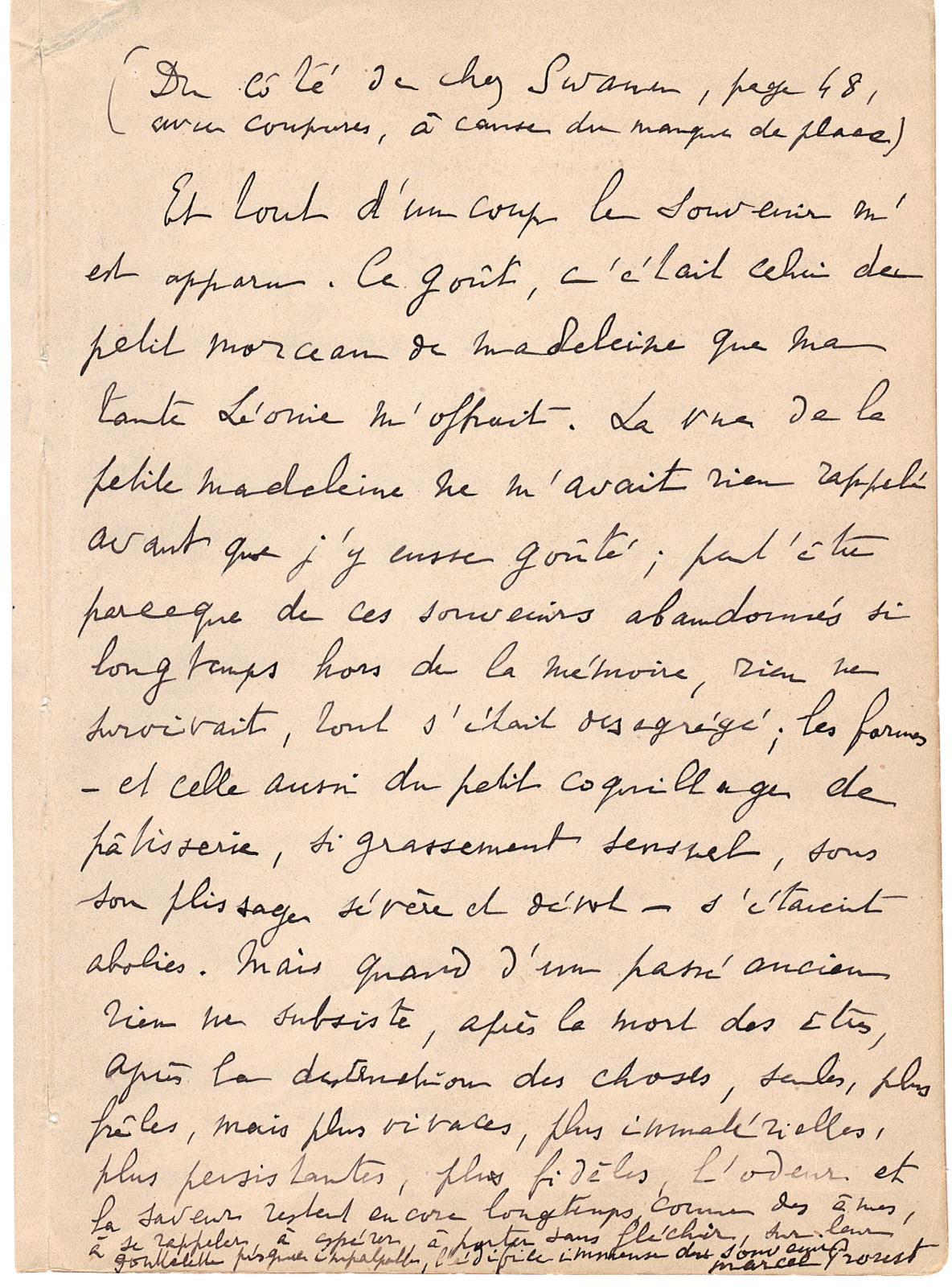 Marcel Proust Manuscrit autographe contenant le fameux «passage de la madeleine». Galerie Frédéric Castaing.