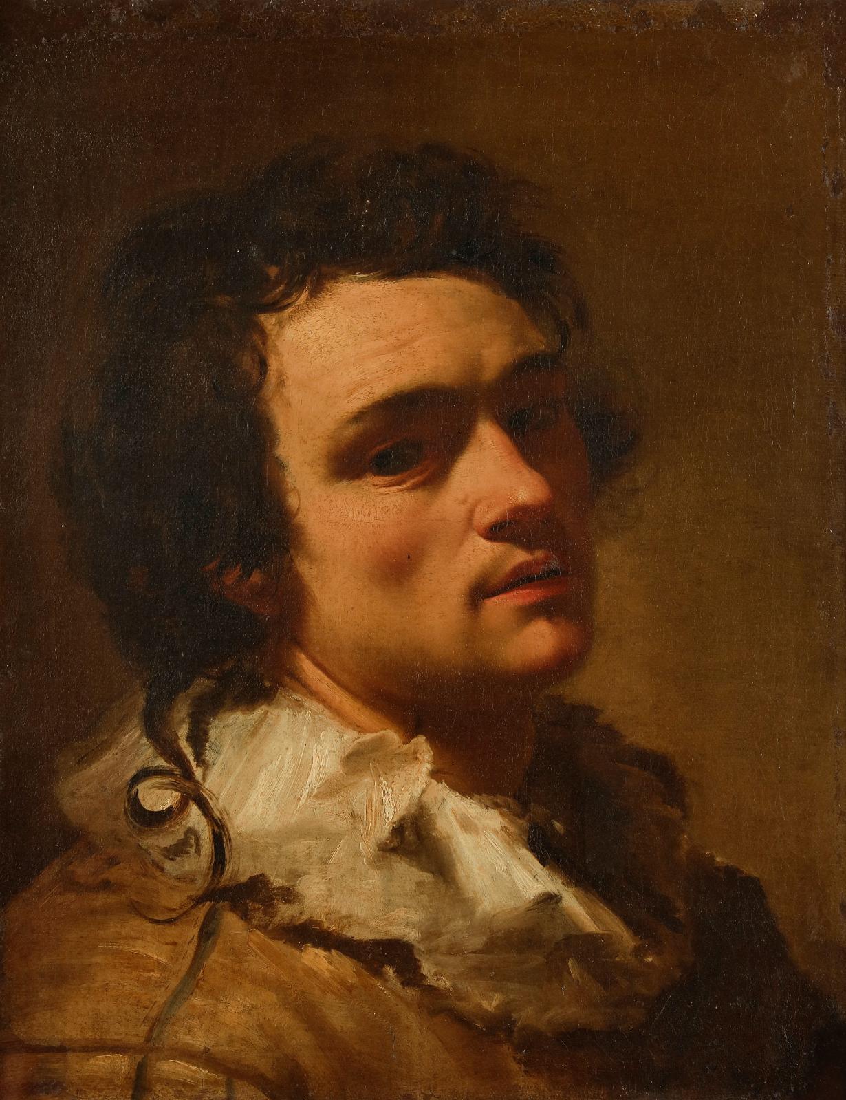 Henri Traivoel(actif à Rome en 1622), Autoportrait présumé, huile sur toile, 50,5x40,5cm. Adjugé 256000€
