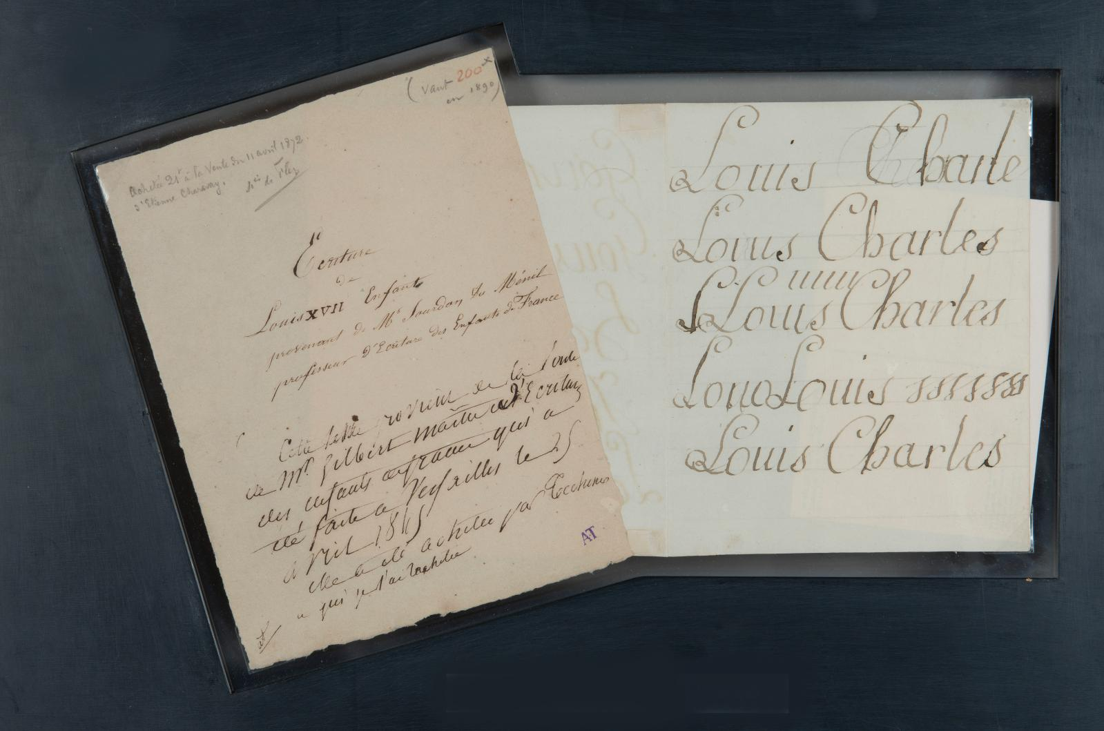 Document rarissime que ce devoir d'écriture du jeune Louis-Charles deBourbon(1785-1795), duc de Normandie puis connu sous le nom de LouisXVII, salu