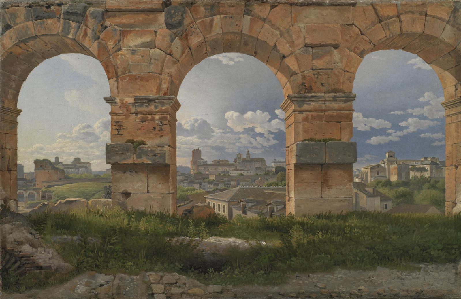 Christoffer Wilhelm Eckersberg, Vue à travers trois arches du Colisée à Rome, 1815, huile sur toile, 32x49,5cm.